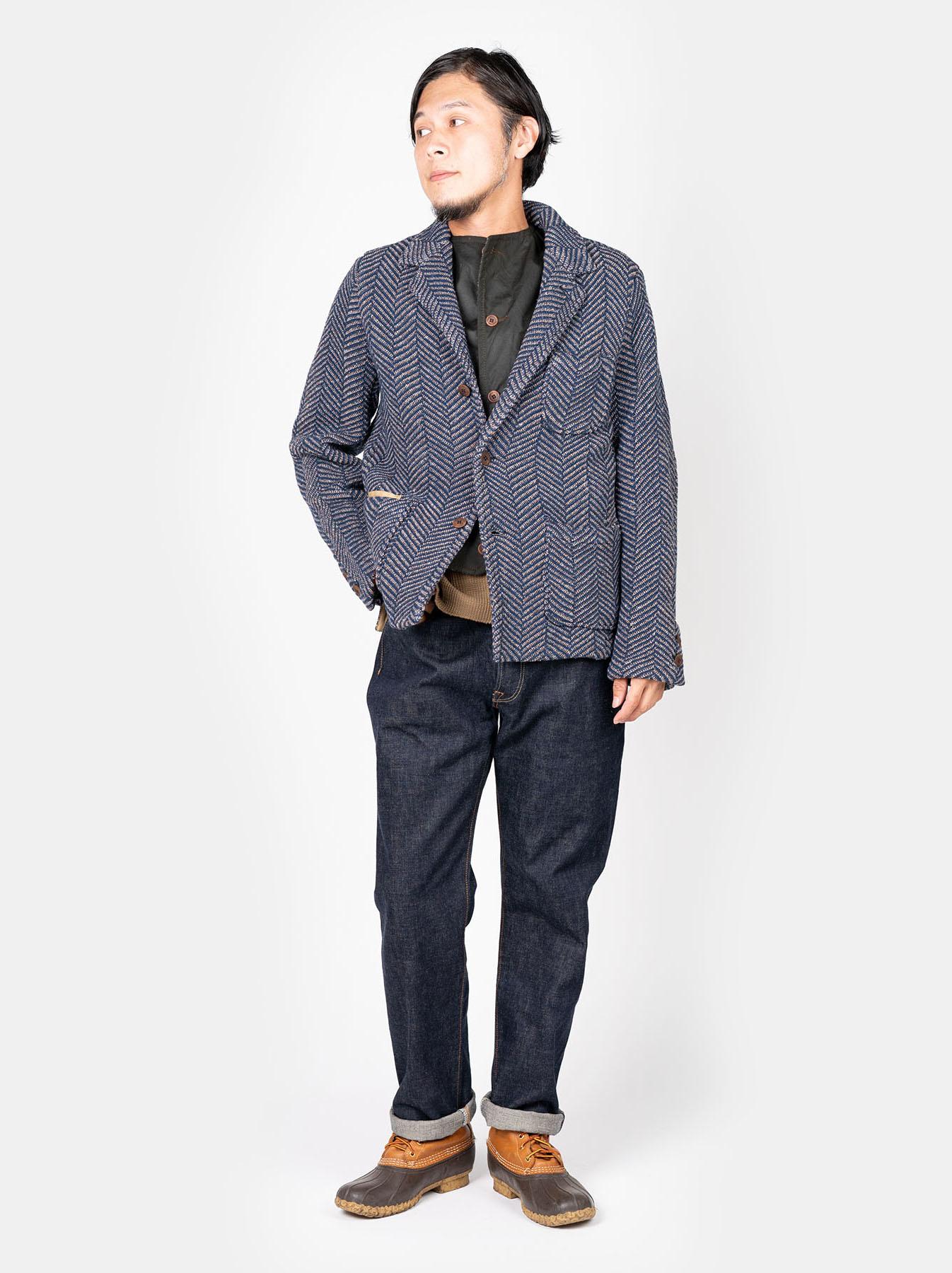 Indigo Cotton Tweed Knit Jacket-2