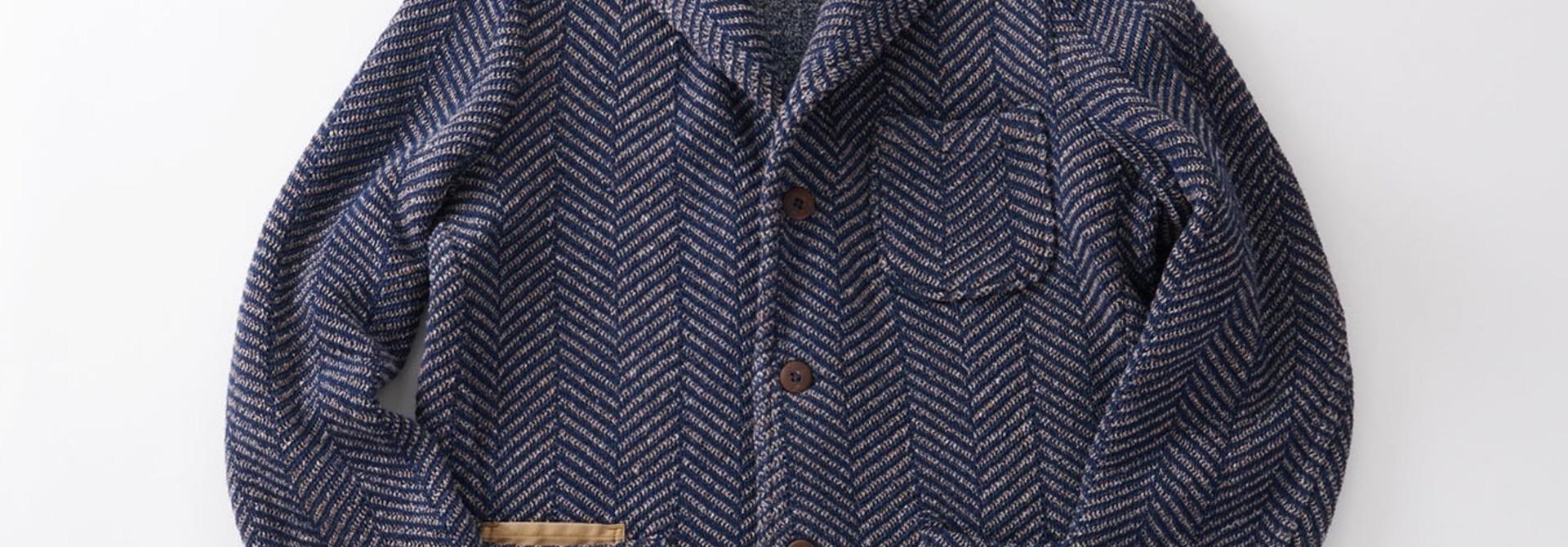 Indigo Cotton Tweed Knit Jacket