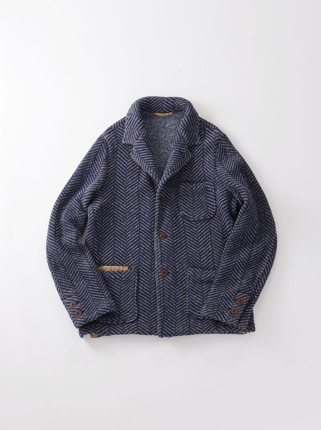 Indigo Cotton Tweed Knit Jacket-1