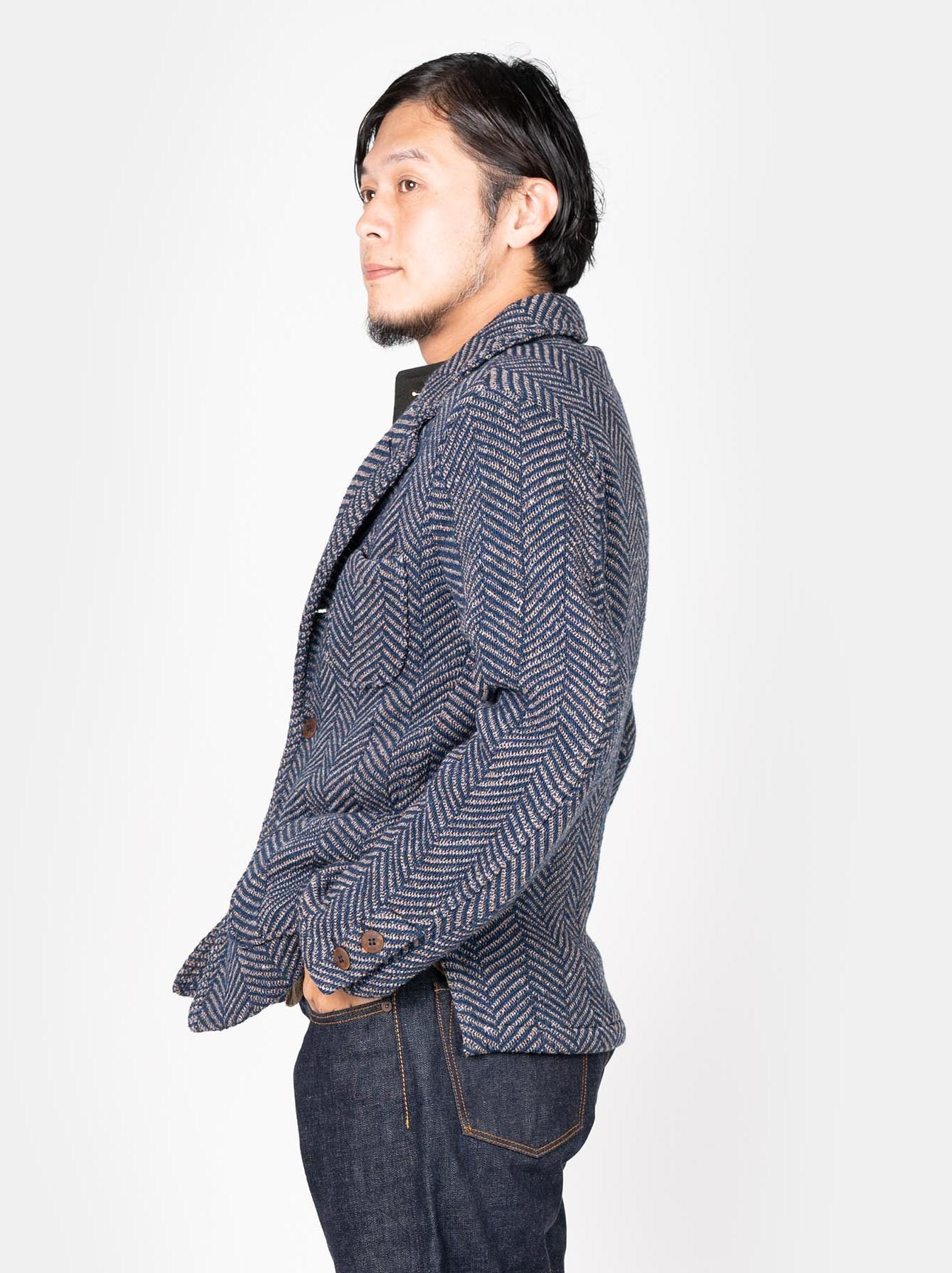 Indigo Cotton Tweed Knit Jacket-4