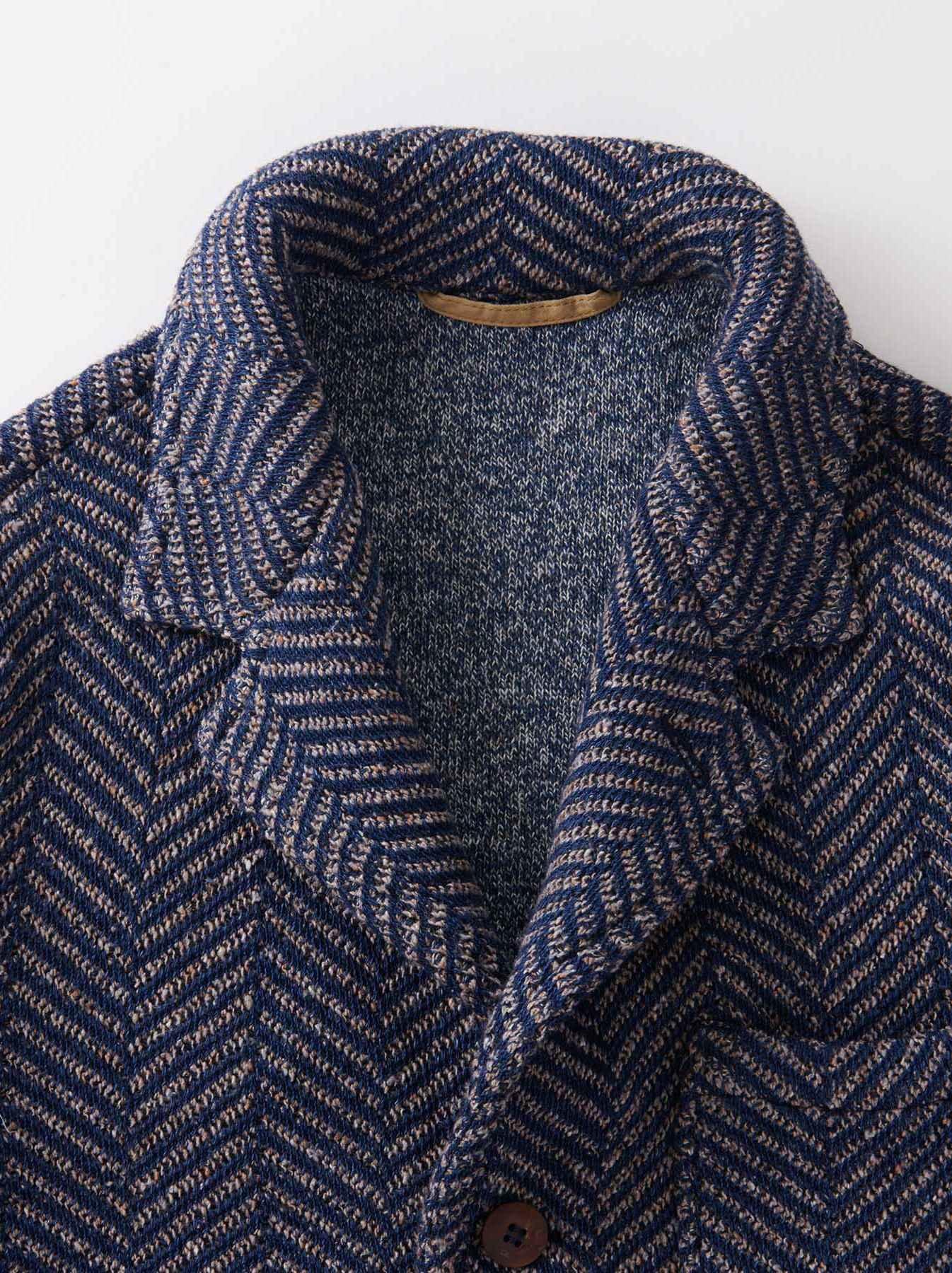 Indigo Cotton Tweed Knit Jacket-7