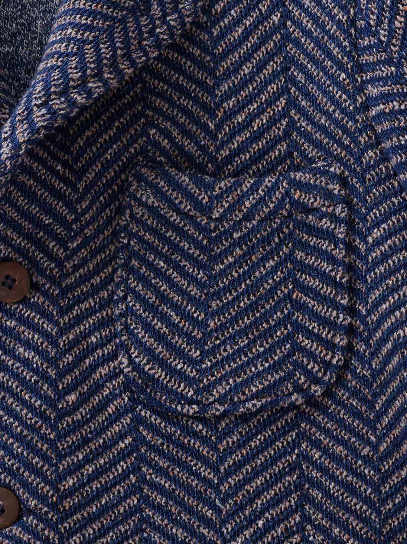 Indigo Cotton Tweed Knit Jacket-8