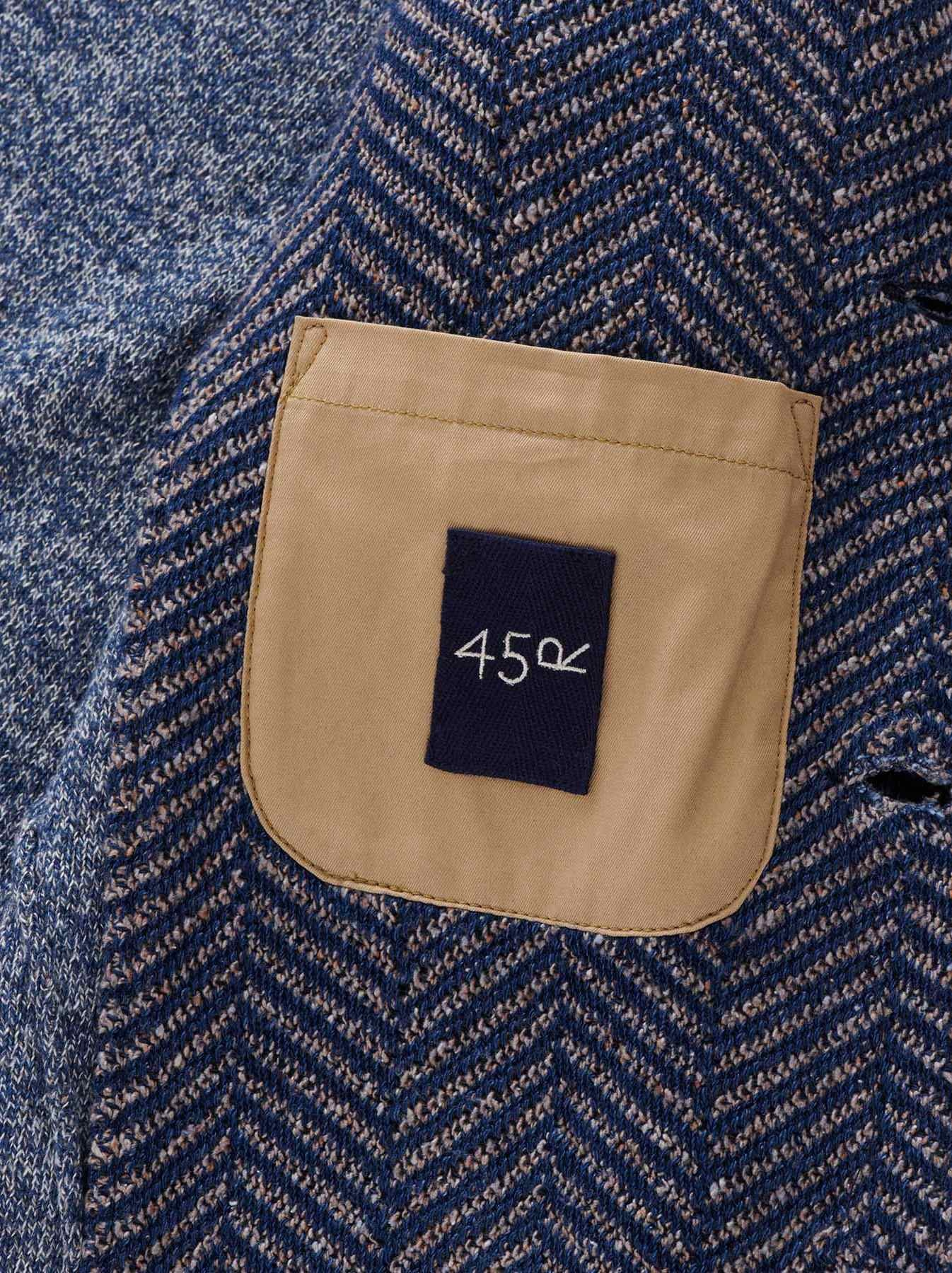 Indigo Cotton Tweed Knit Jacket-10