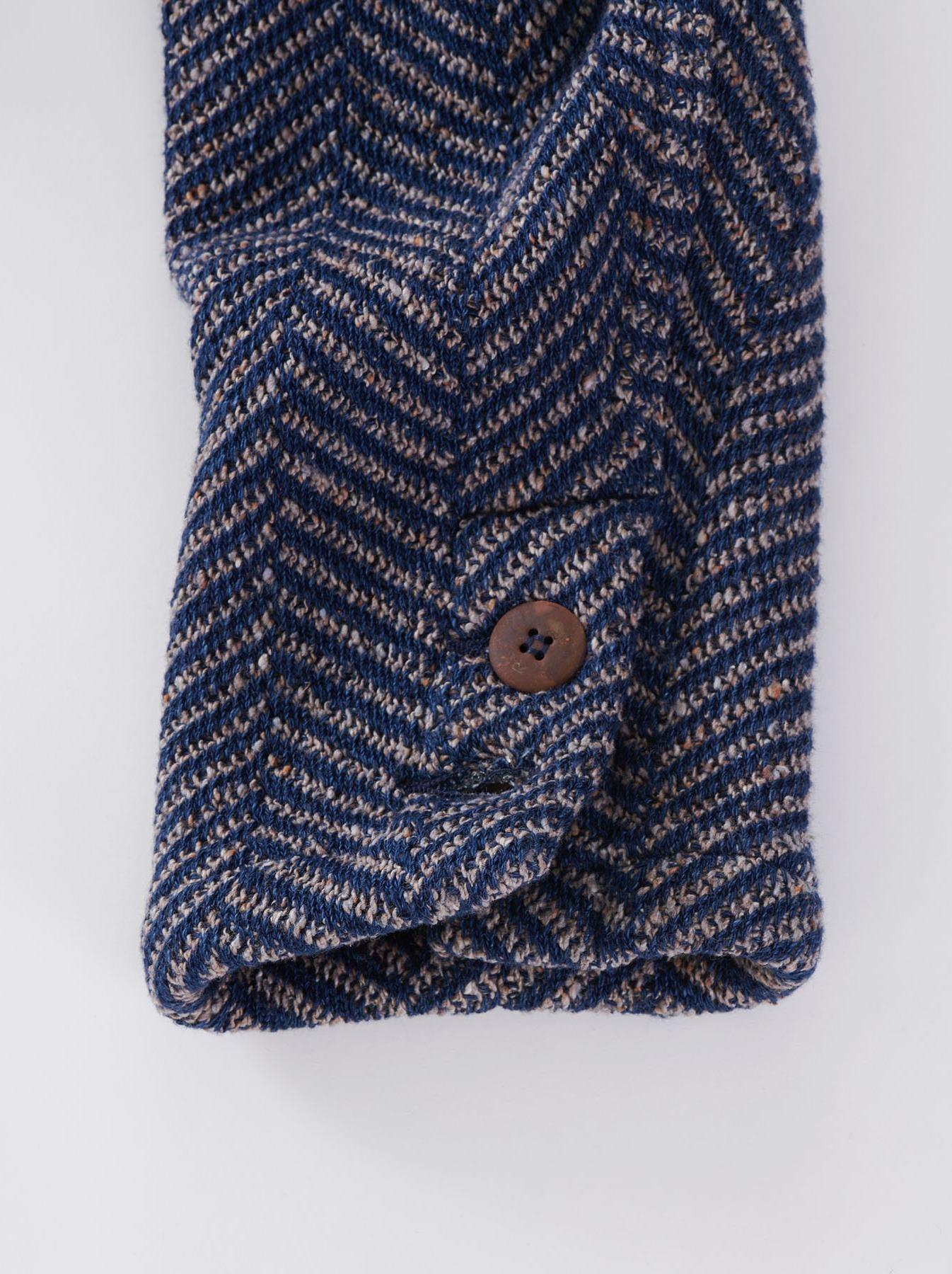 Indigo Cotton Tweed Knit Jacket-11