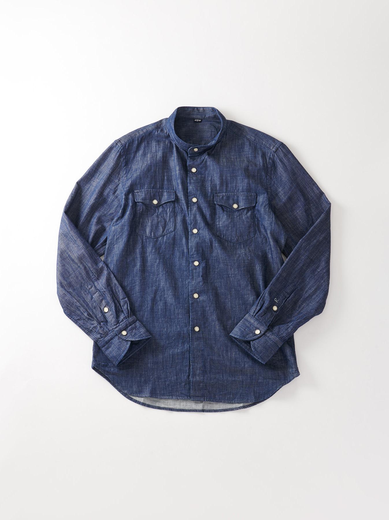 Goma Denim Stand Collar Eastern Shirt-1