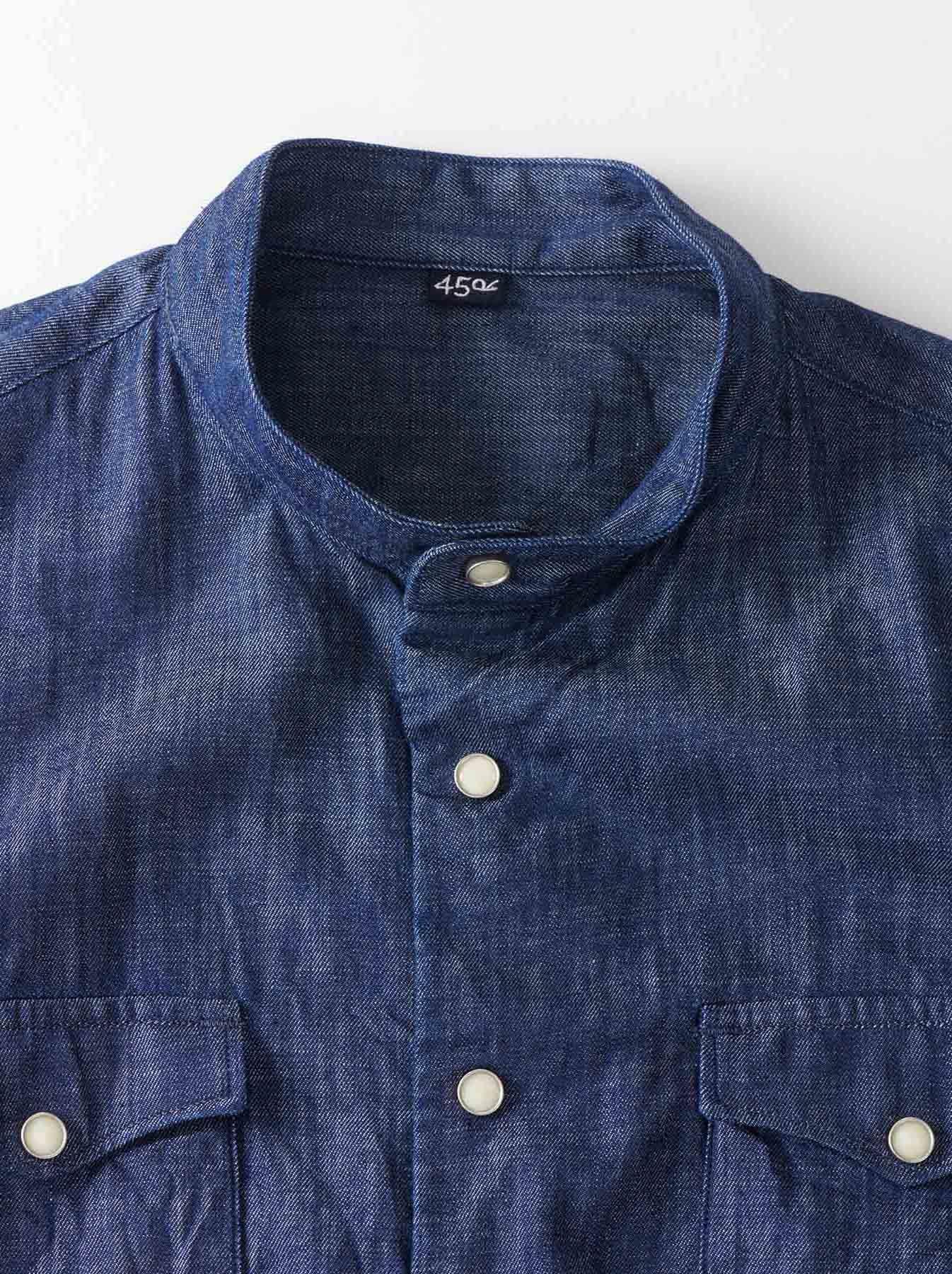 Goma Denim Stand Collar Eastern Shirt-6