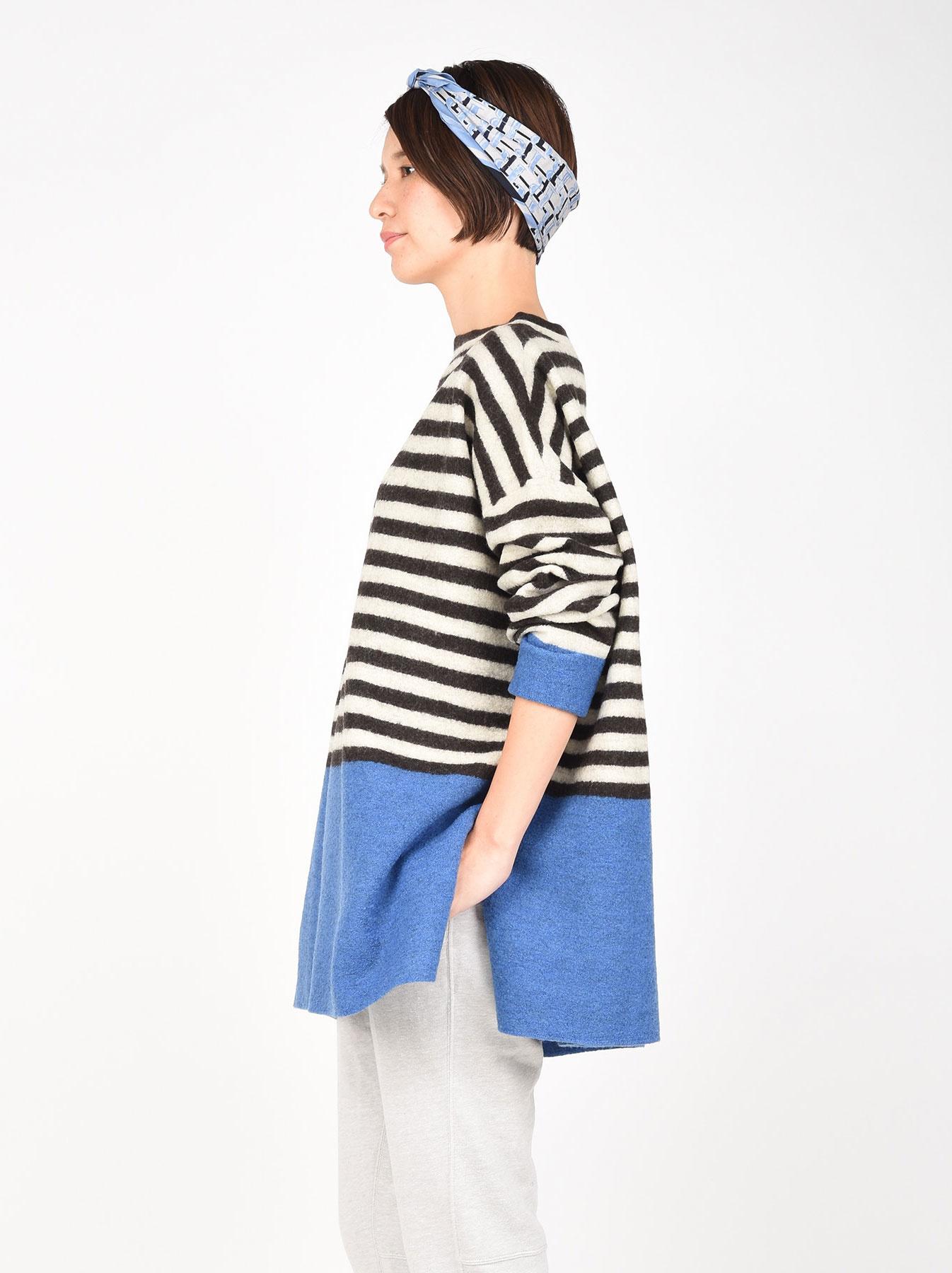 WH Arles Boiled Wool Stripe Big Tunic-6