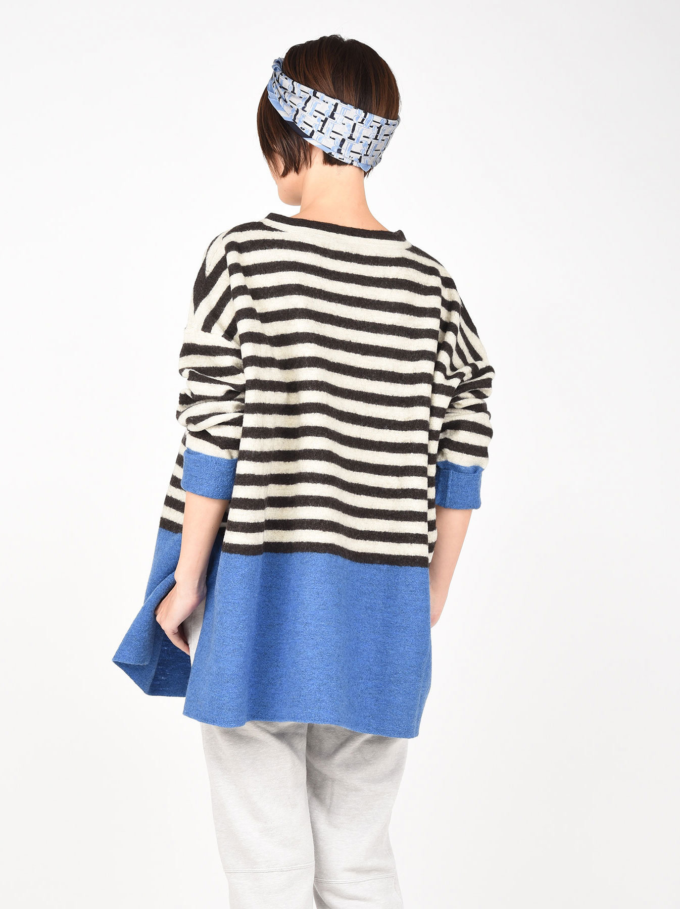 WH Arles Boiled Wool Stripe Big Tunic-7