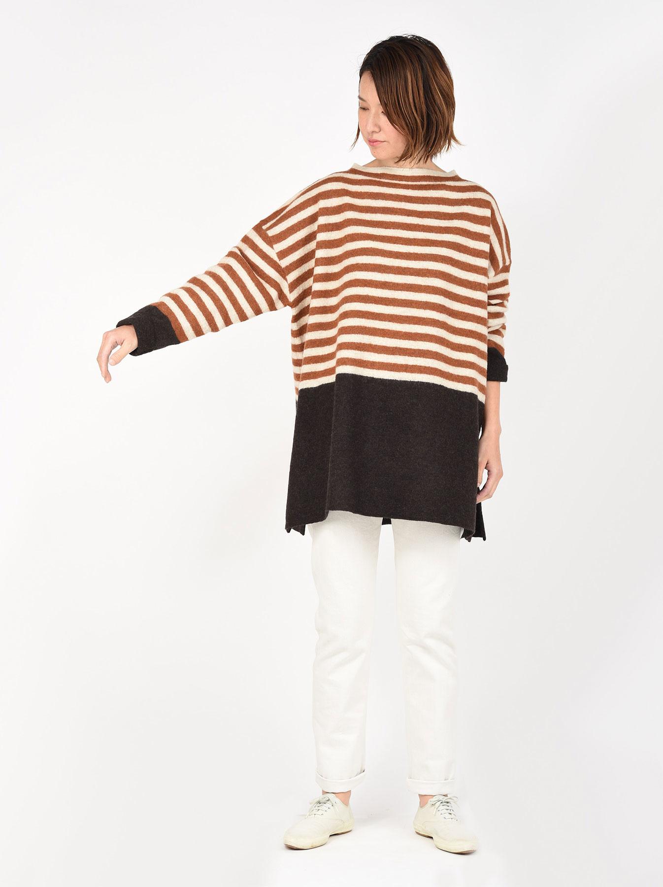 WH Arles Boiled Wool Stripe Big Tunic-2