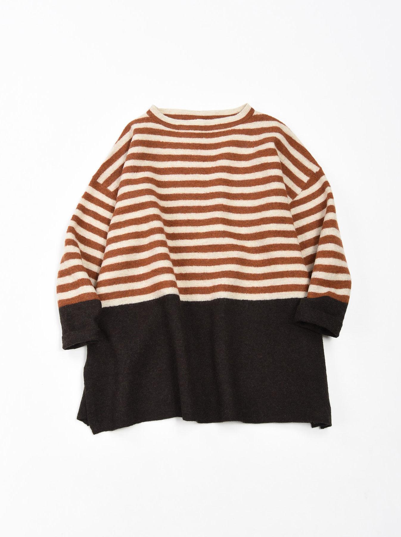 WH Arles Boiled Wool Stripe Big Tunic-3