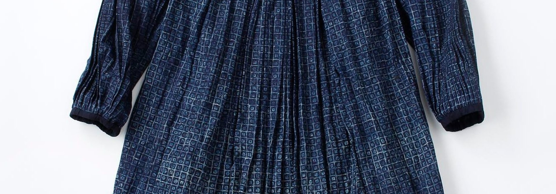 Indigo Patchwork Pleats Dress