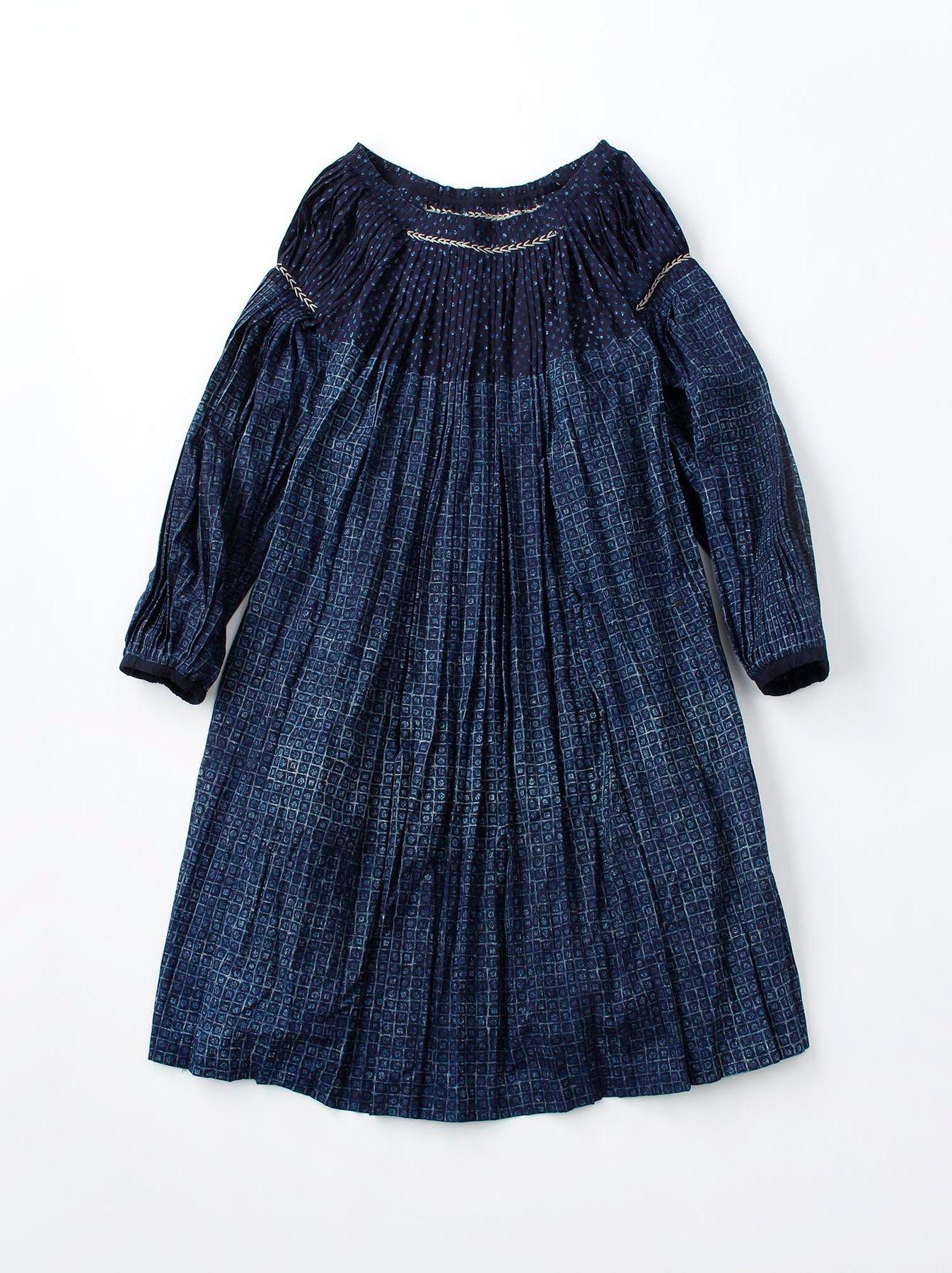 Indigo Patchwork Pleats Dress-1