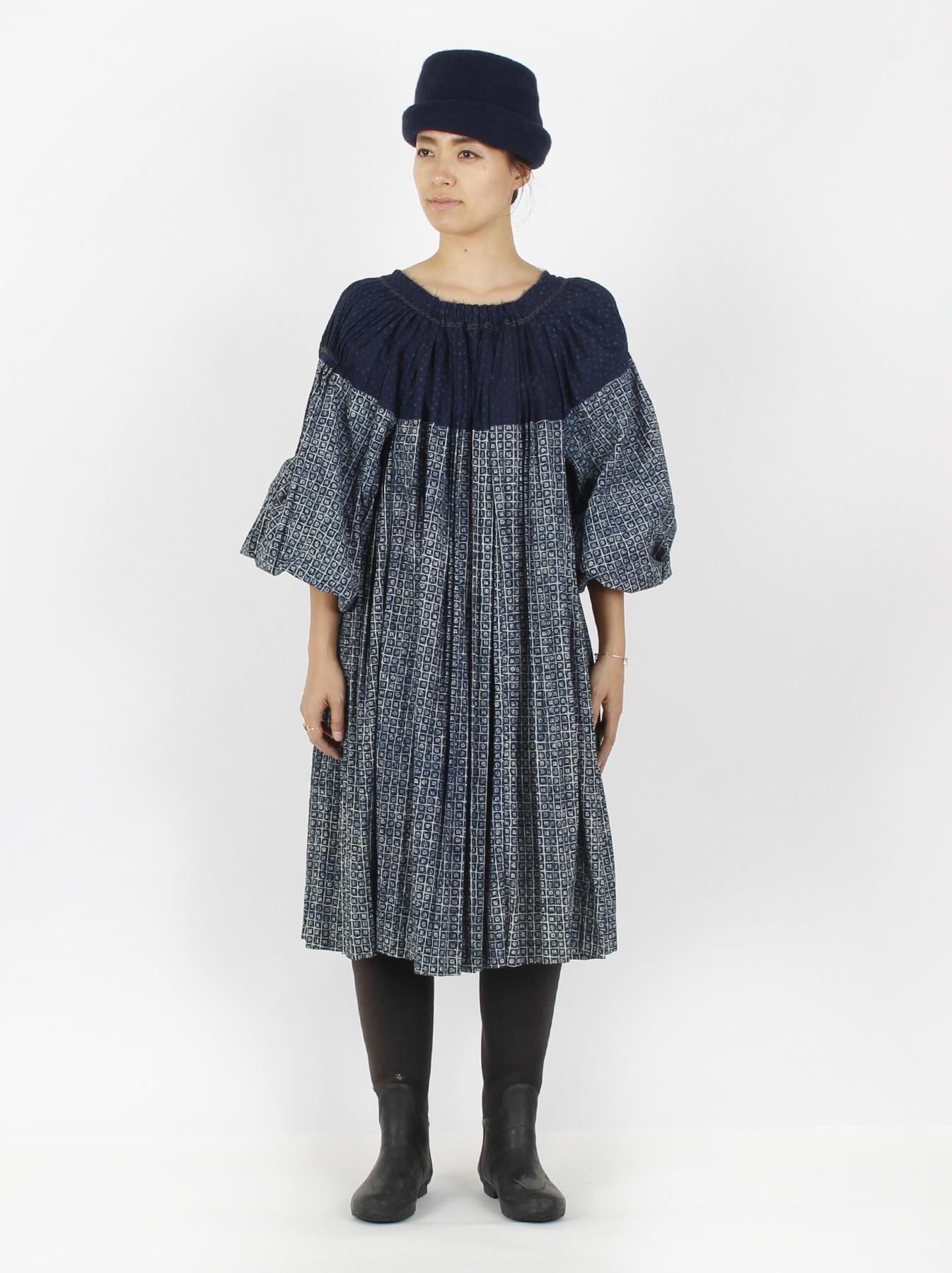 Indigo Patchwork Pleats Dress-2