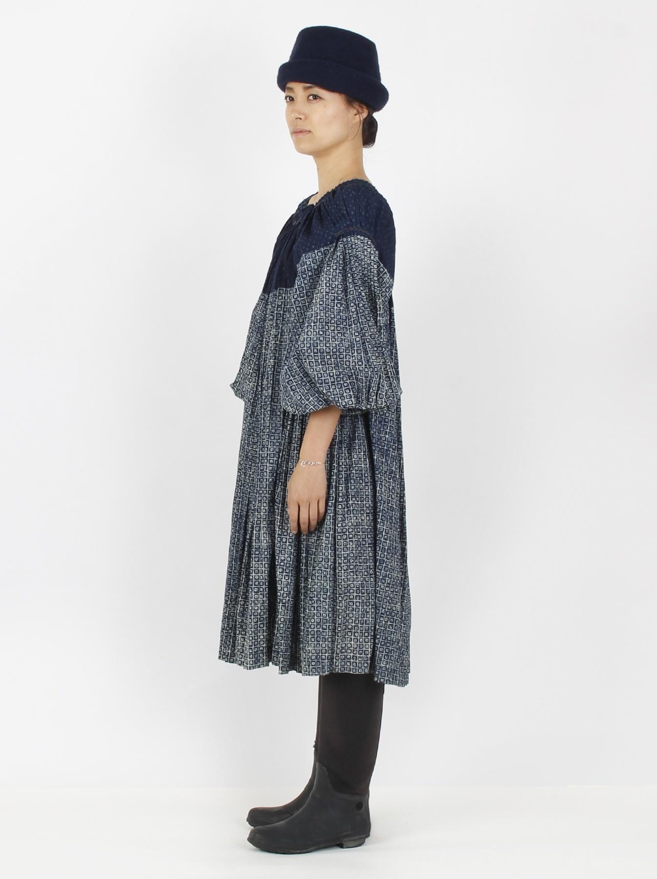 Indigo Patchwork Pleats Dress-3