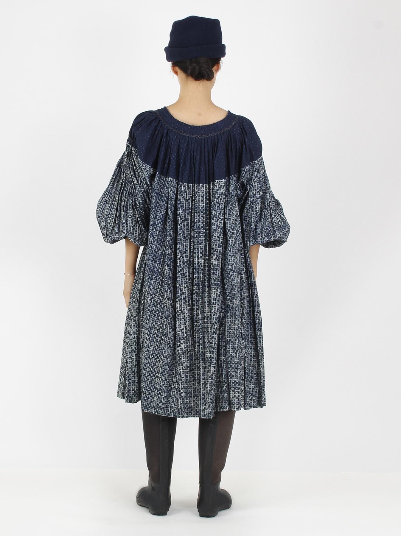 Indigo Patchwork Pleats Dress-4