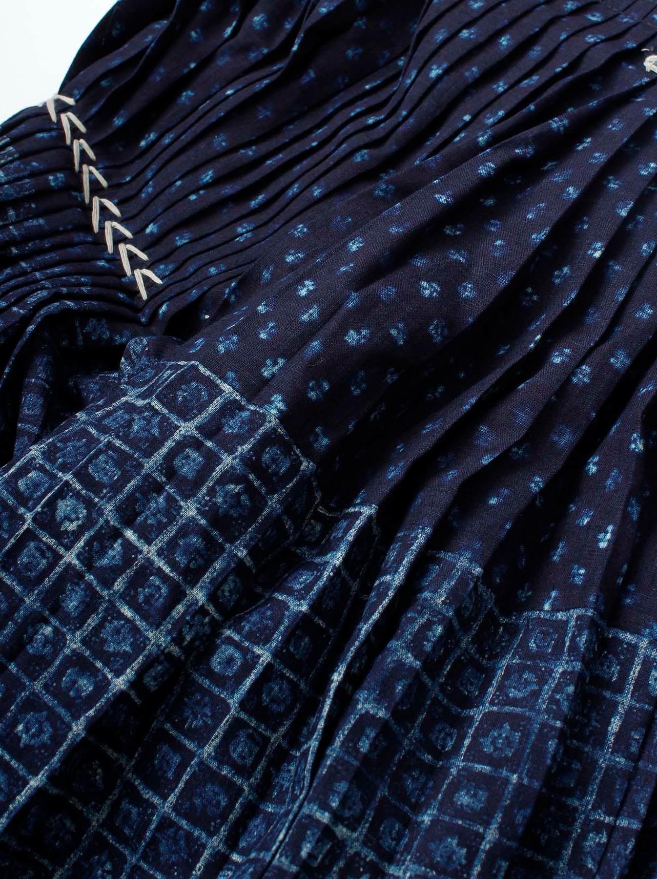 Indigo Patchwork Pleats Dress-5