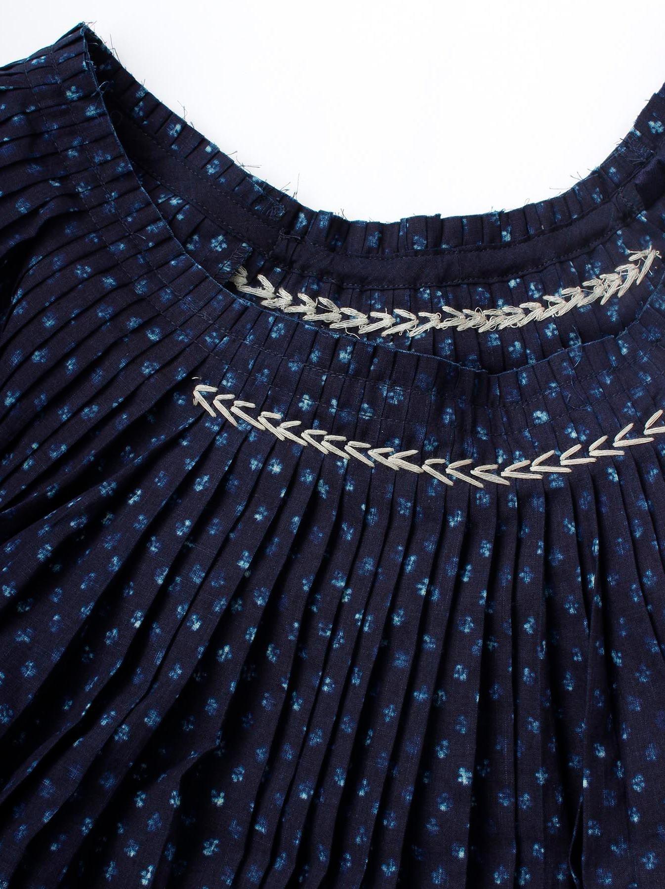 Indigo Patchwork Pleats Dress-6