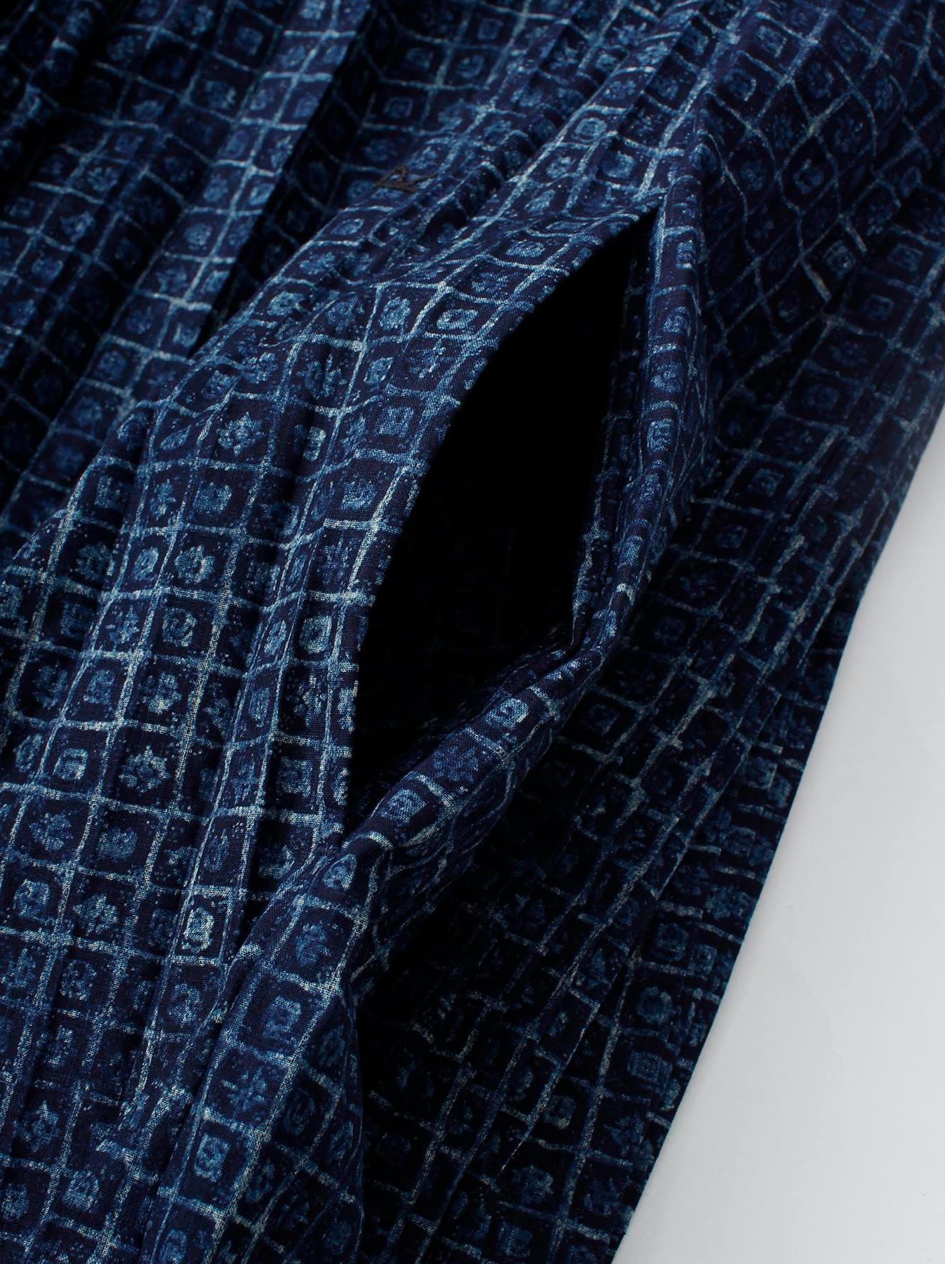 Indigo Patchwork Pleats Dress-7