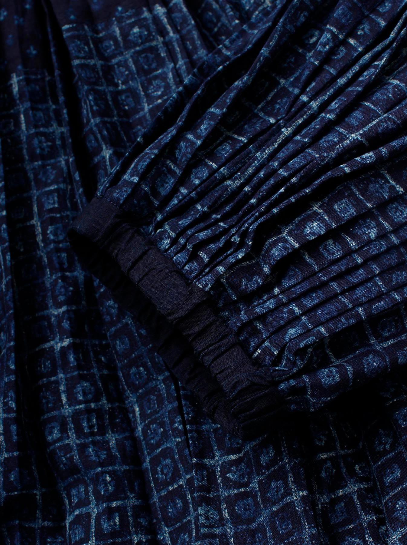 Indigo Patchwork Pleats Dress-8