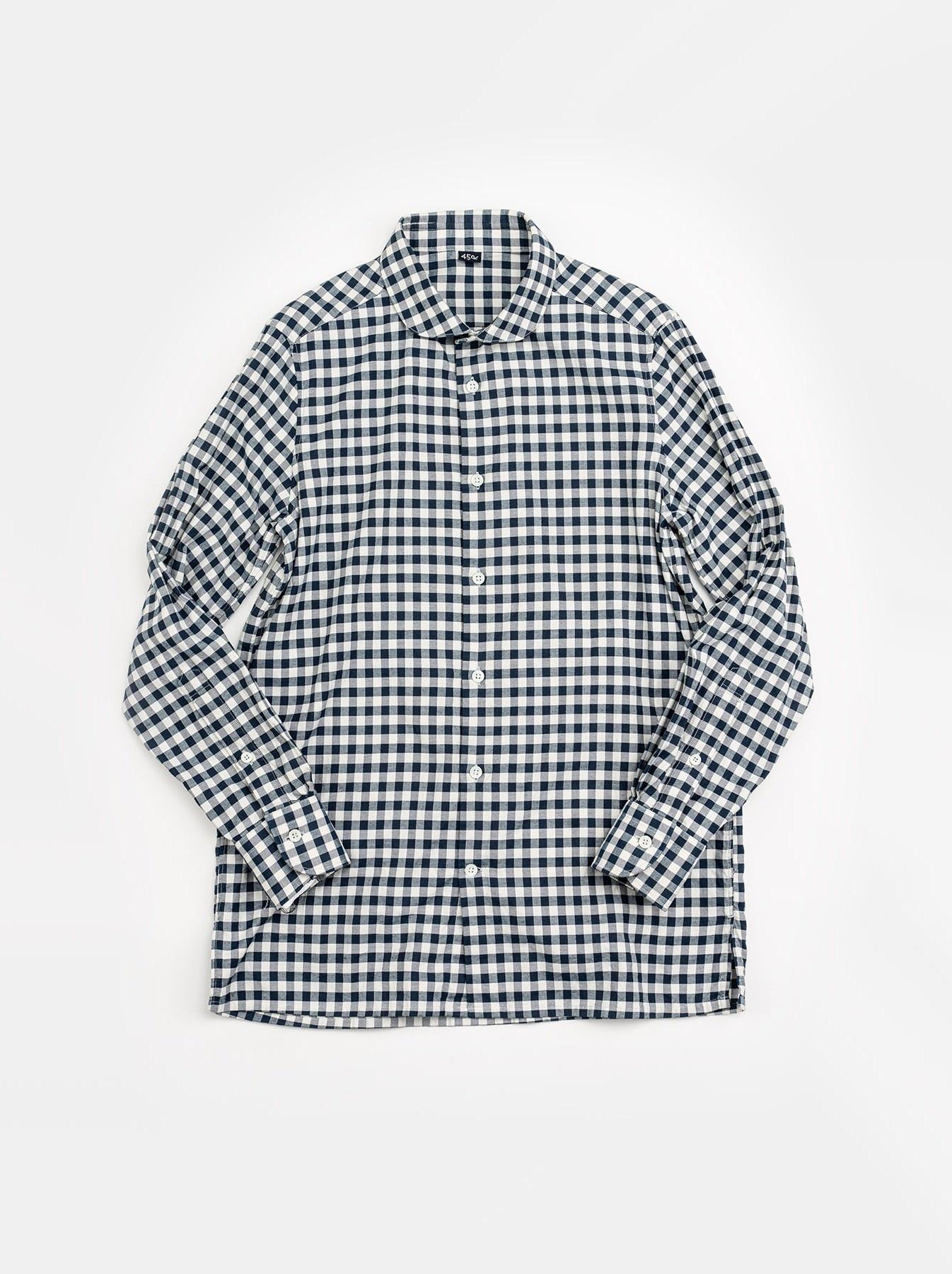 WH Indigo Oxford 908 Round Collar Shirt-4
