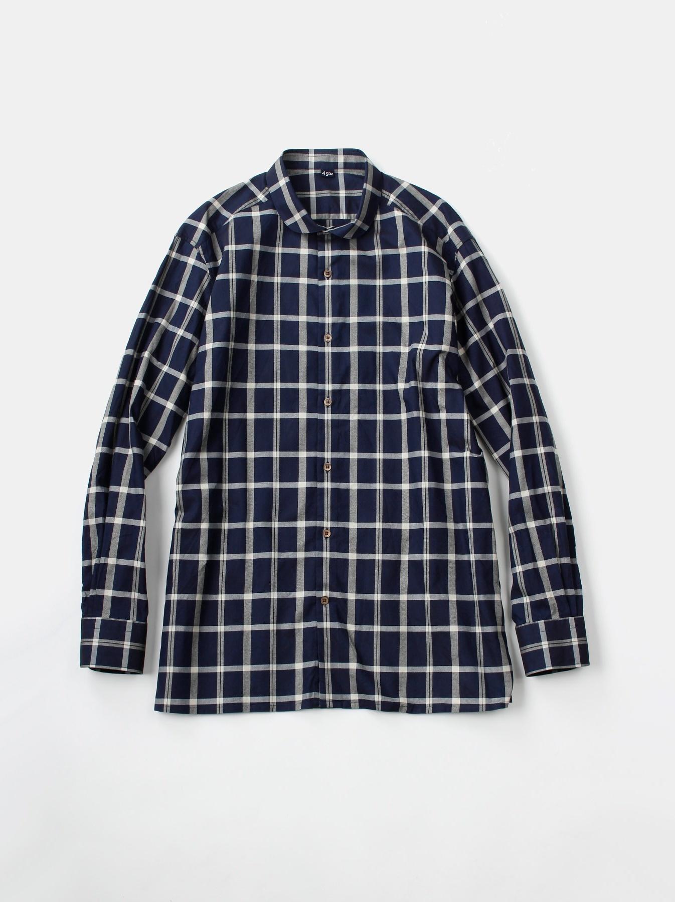 WH Indigo Oxford 908 Round Collar Shirt-1