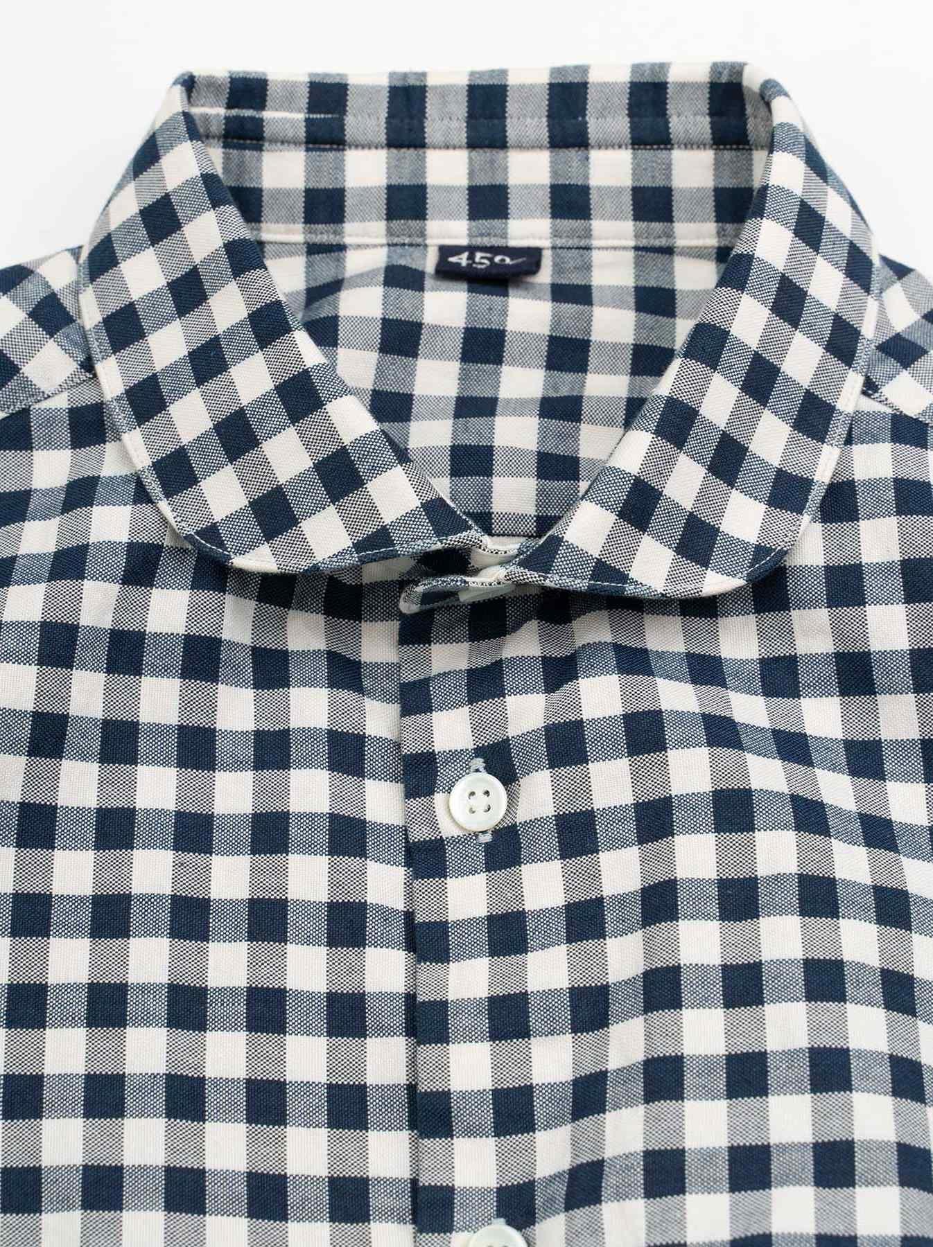 WH Indigo Oxford 908 Round Collar Shirt-8