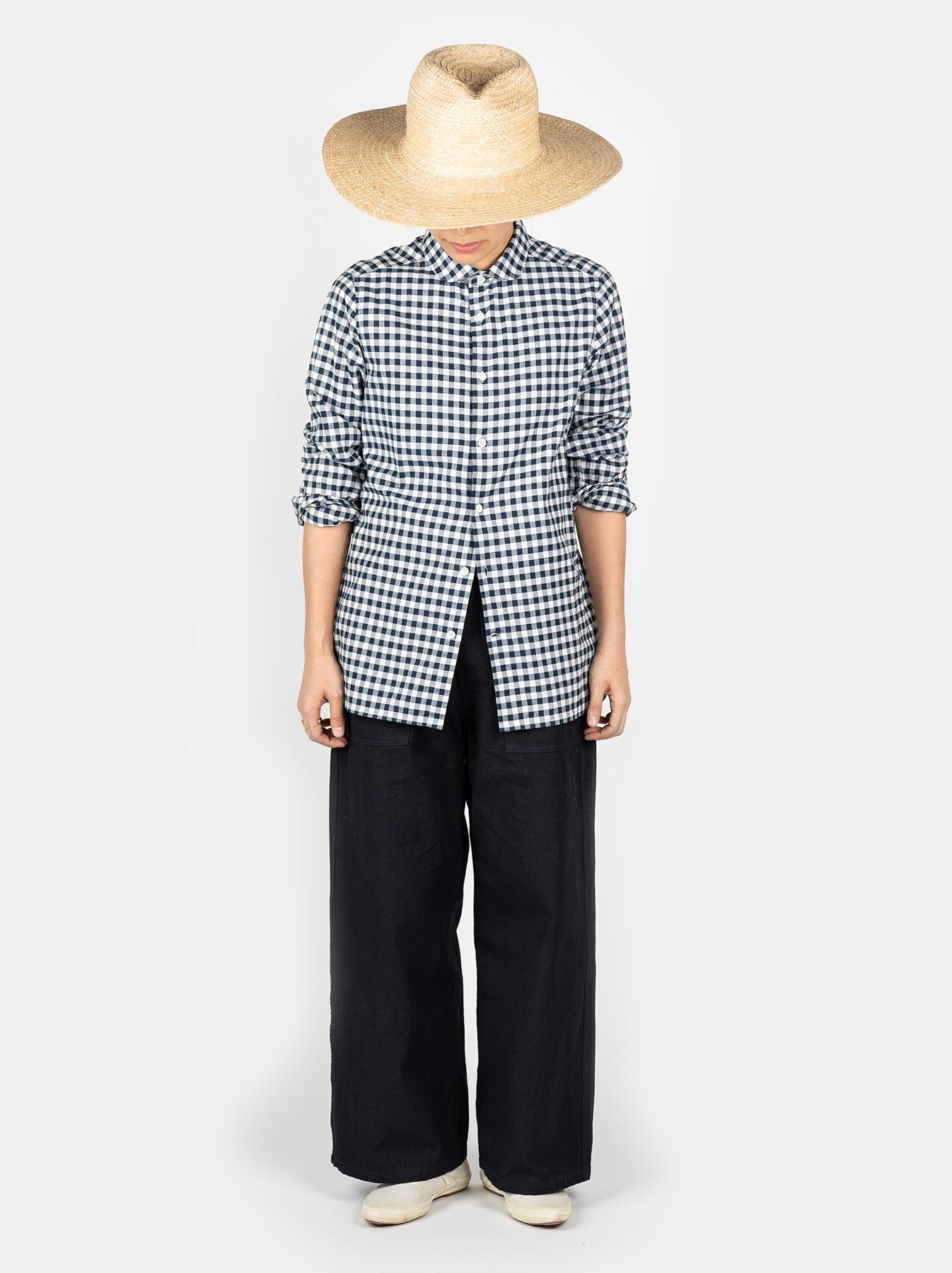 WH Indigo Oxford 908 Round Collar Shirt-3