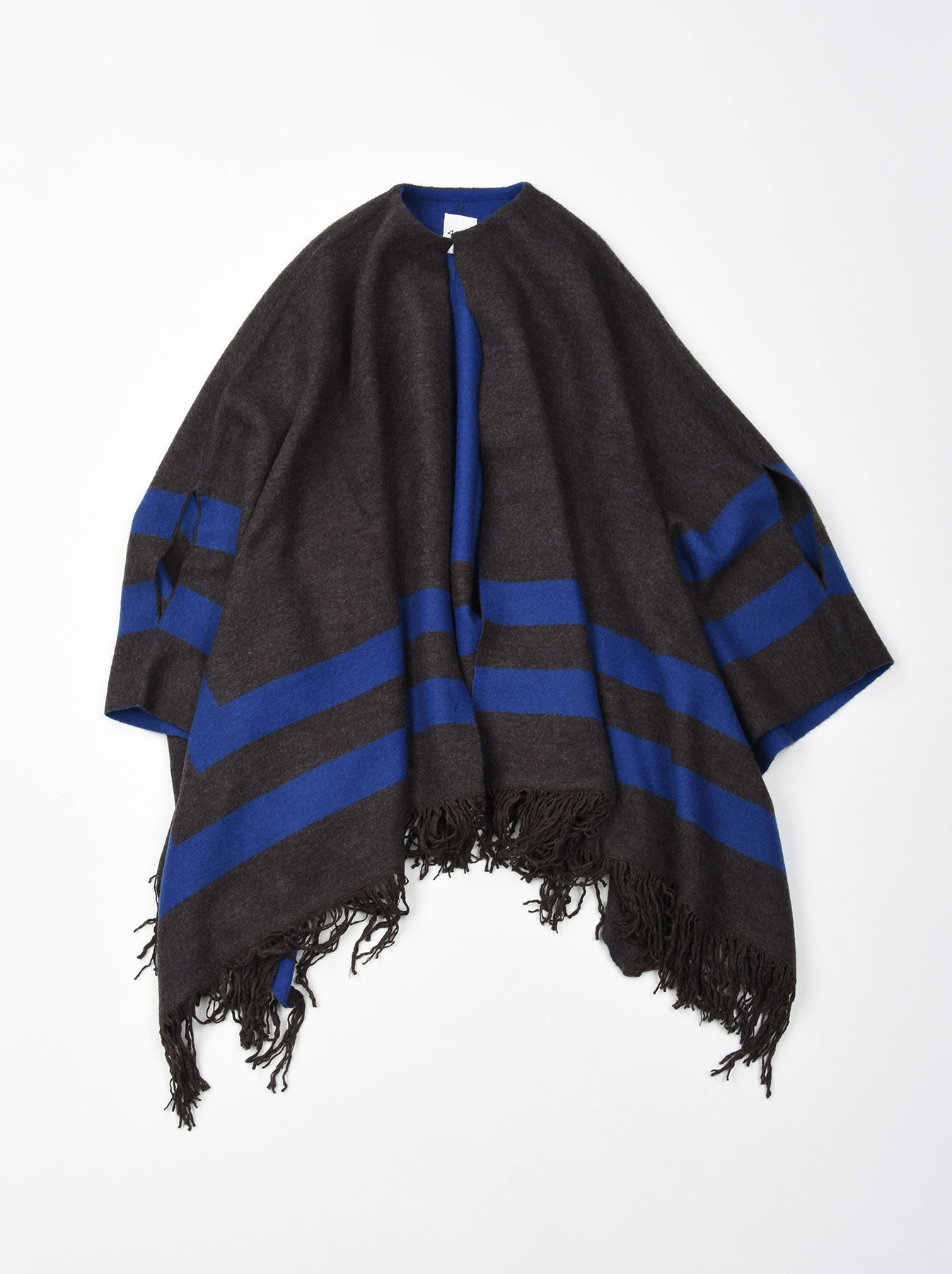 WH Float Knit Boiled Poncho-1