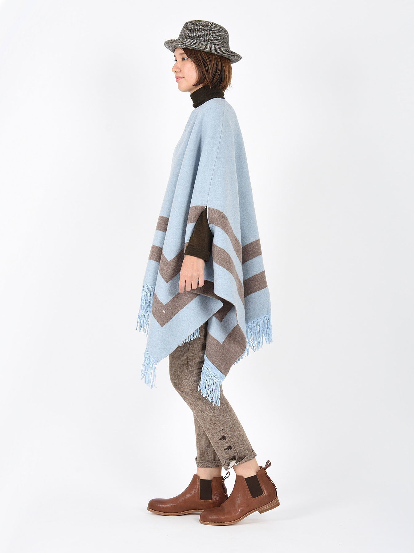 WH Float Knit Boiled Poncho-3