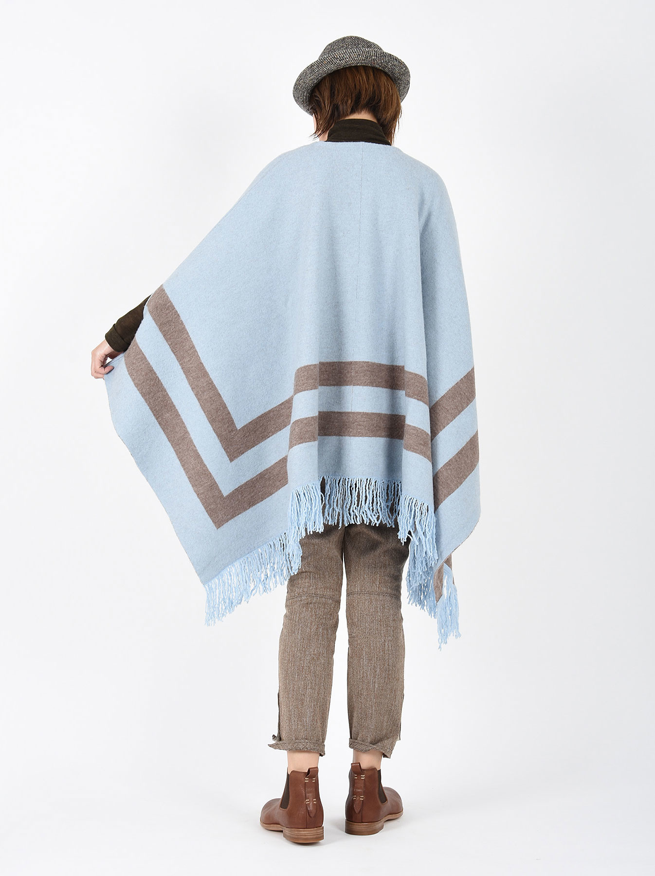 WH Float Knit Boiled Poncho-4
