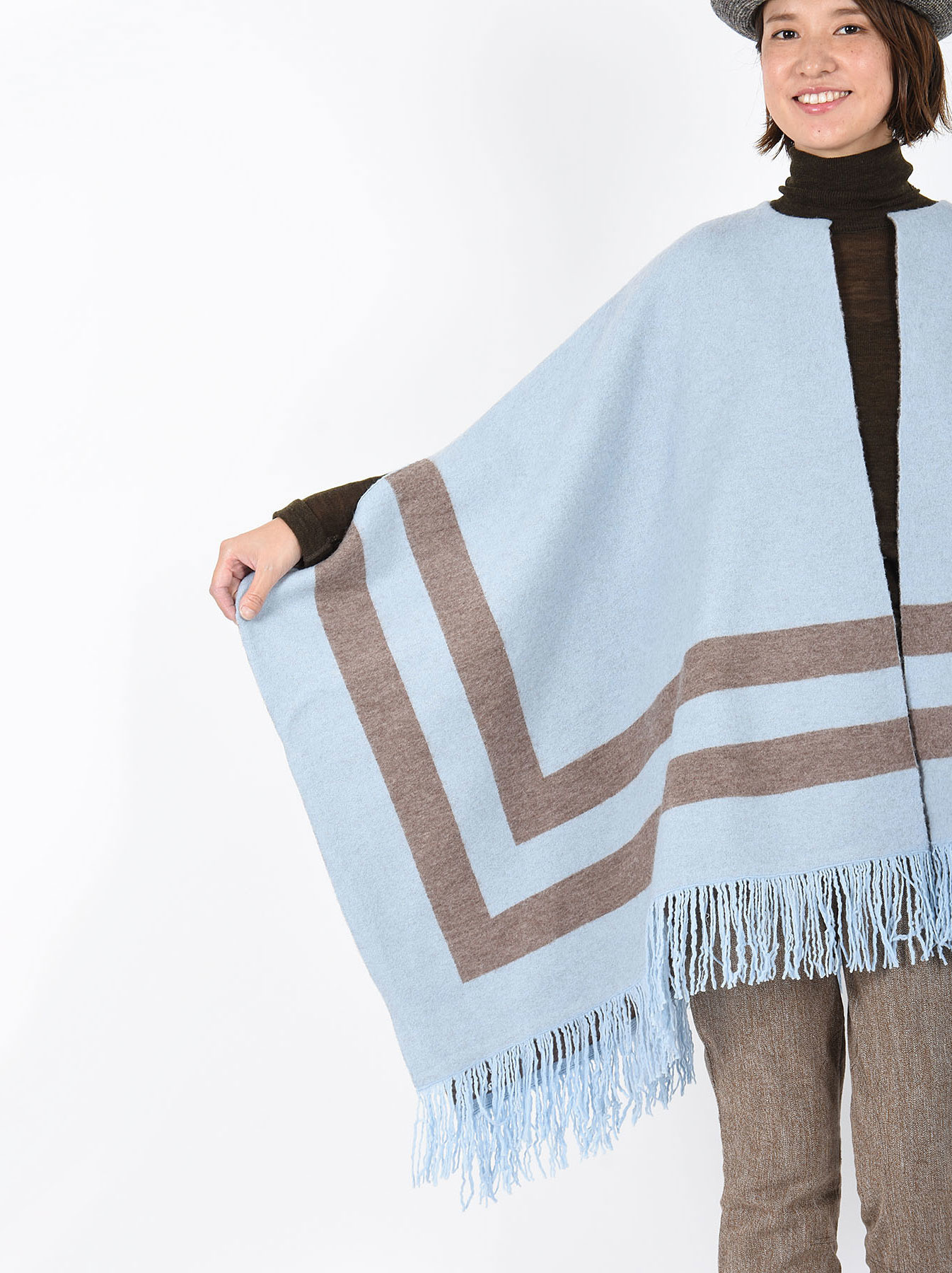 WH Float Knit Boiled Poncho-2