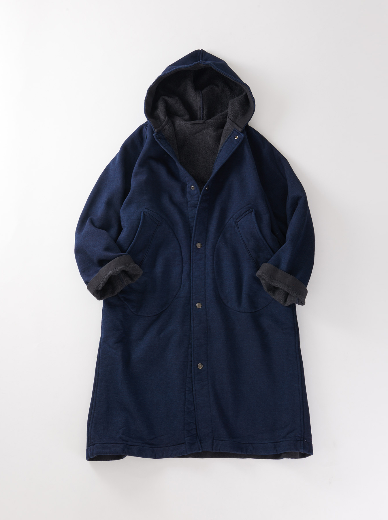 WH Indigo Mouton Fleecy 908 Hoodie Coat-1