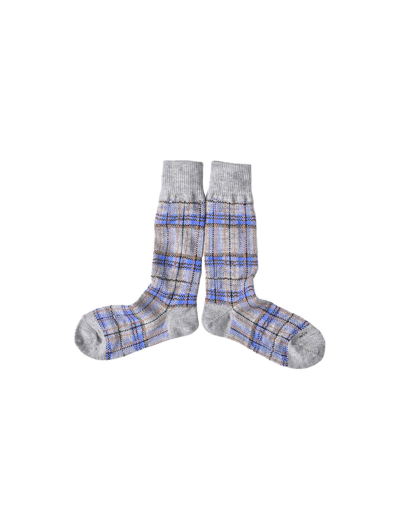 Plaid Knit Socks-1