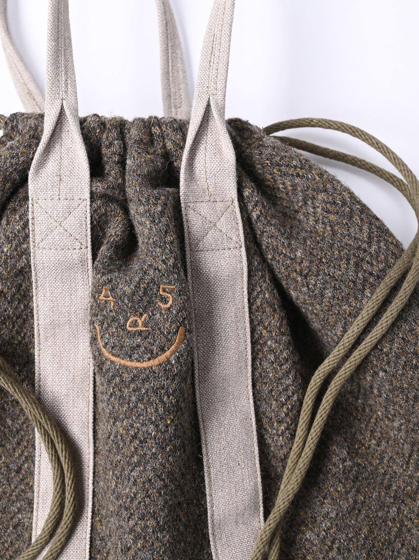 Tweed Knit and Nylon Tote Bag-7