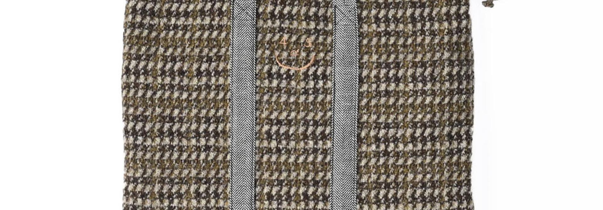 Tweed Knit and Nylon Tote Bag