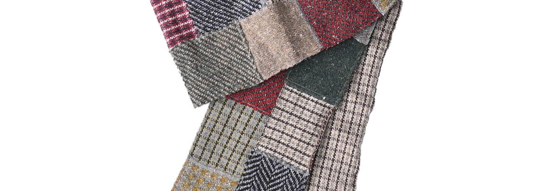 Knit Jaquard Patchwork Muffler