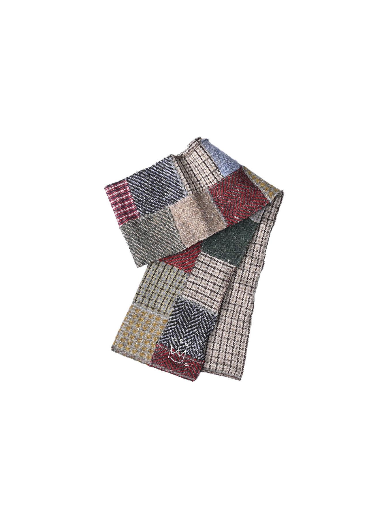 Knit Jaquard Patchwork Muffler-1