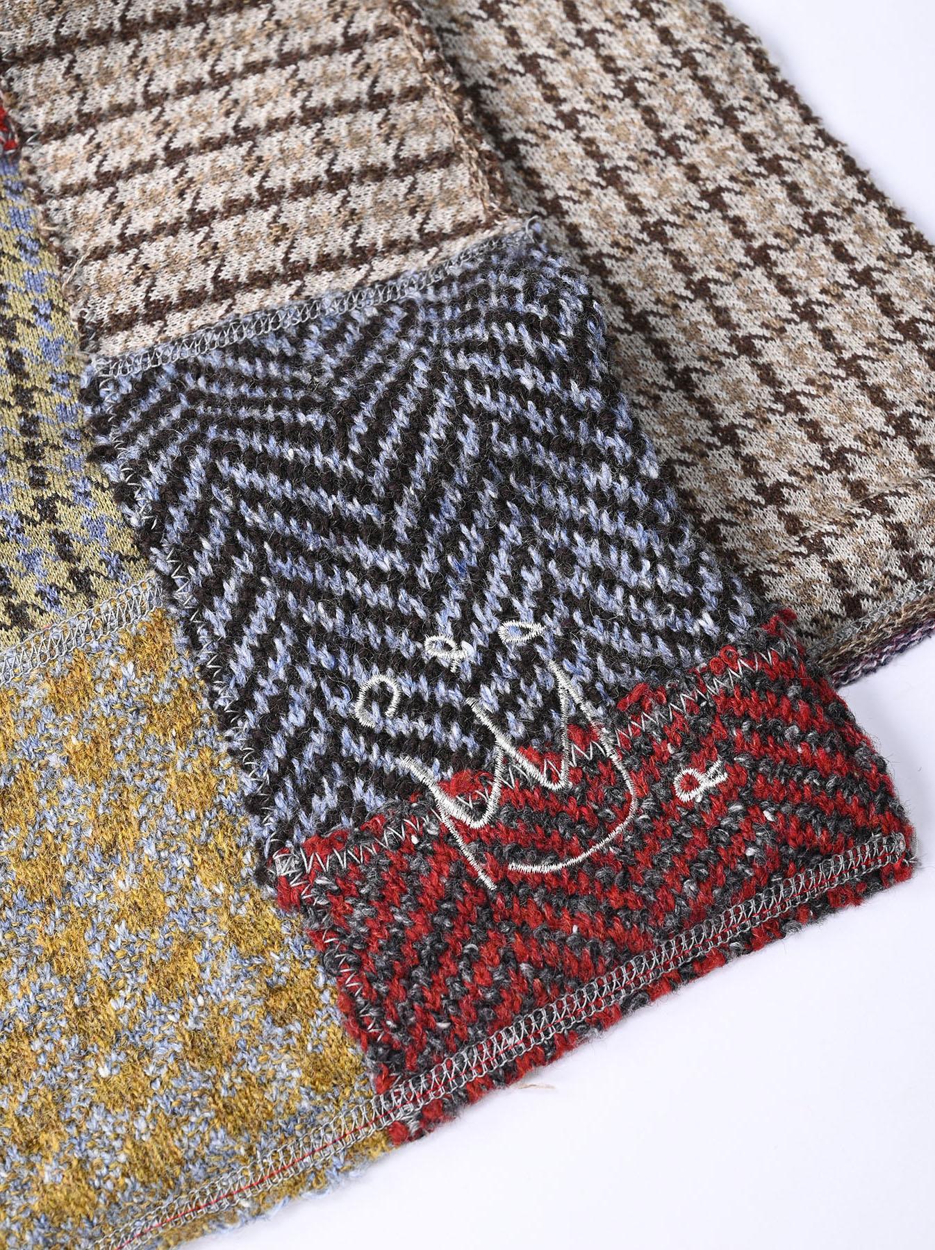 Knit Jaquard Patchwork Muffler-4