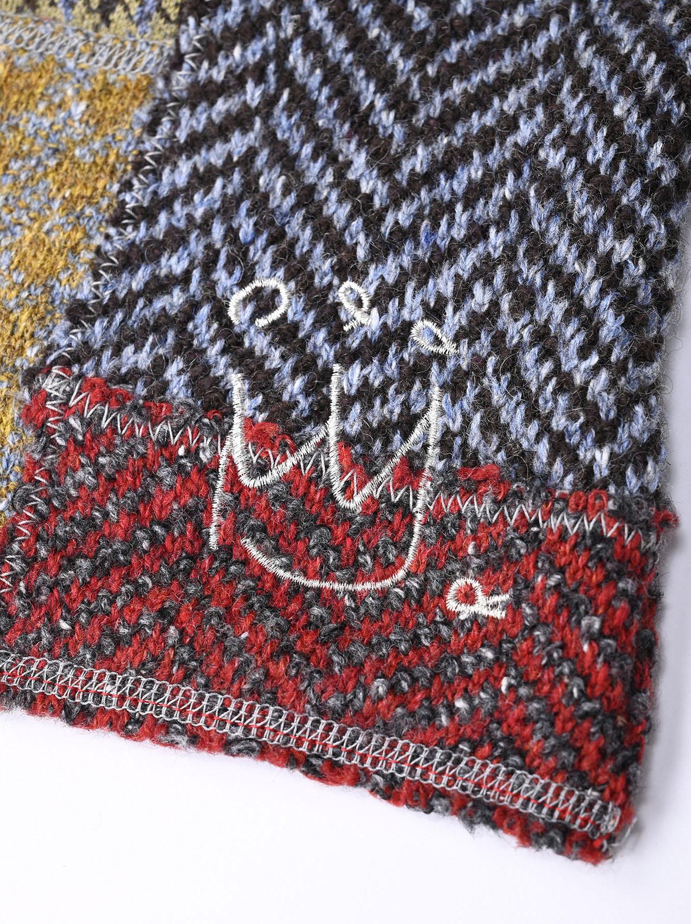 Knit Jaquard Patchwork Muffler-5
