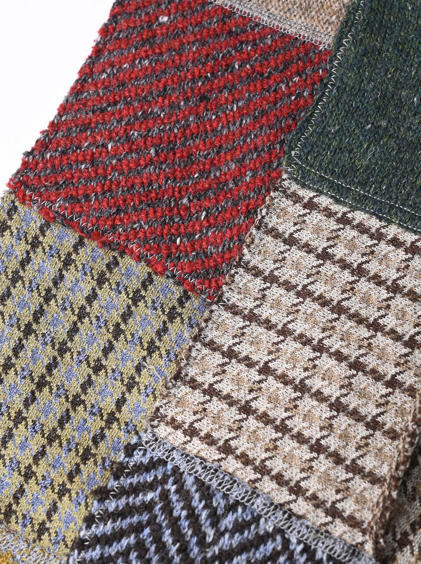 Knit Jaquard Patchwork Muffler-6