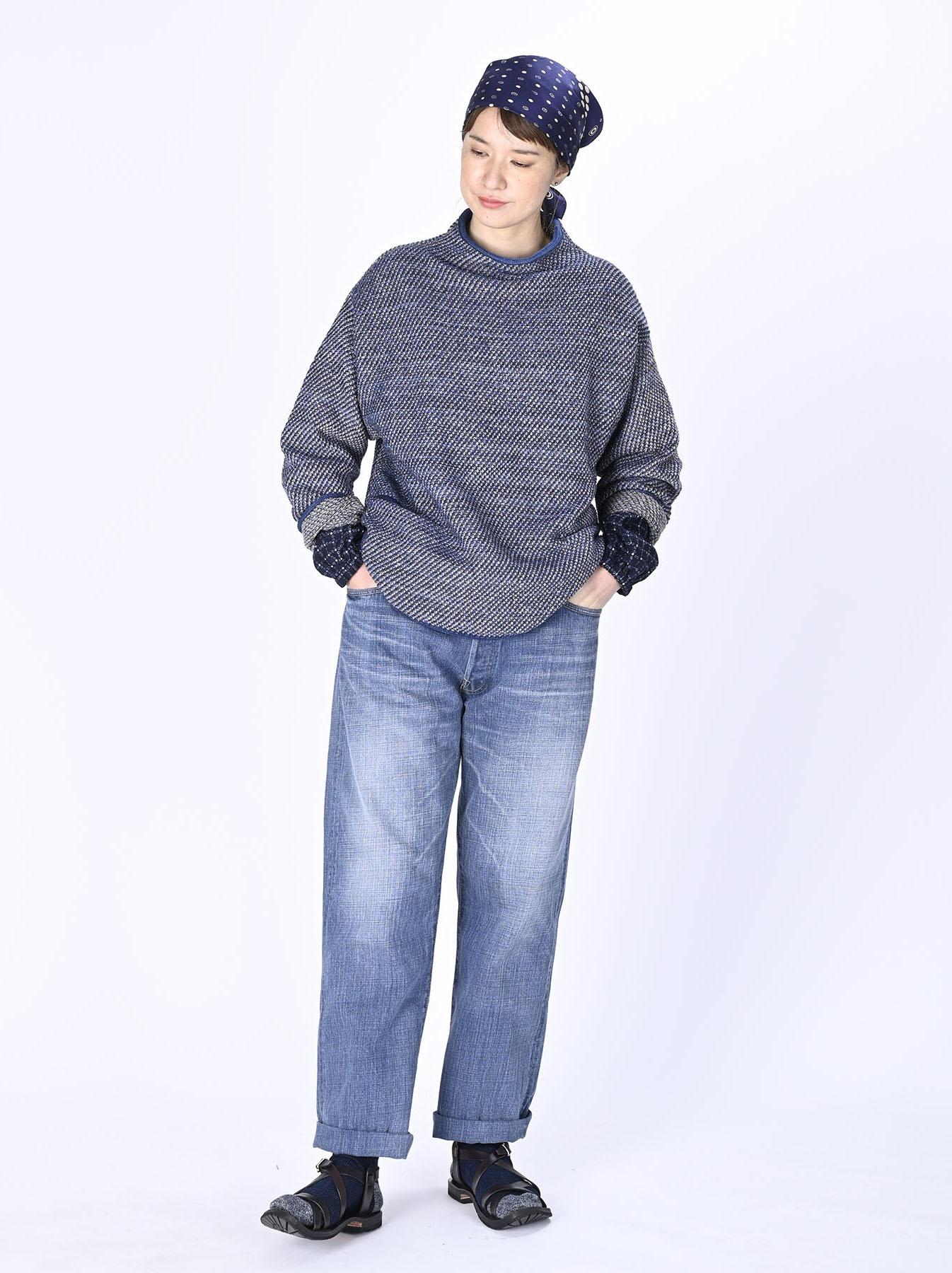 Indigo Knit Jacquard 908 Umahiko Sweater-2