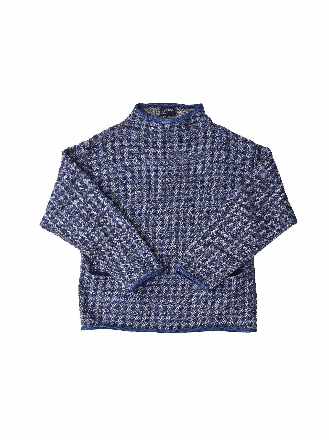 Indigo Knit Jacquard 908 Umahiko Sweater-1