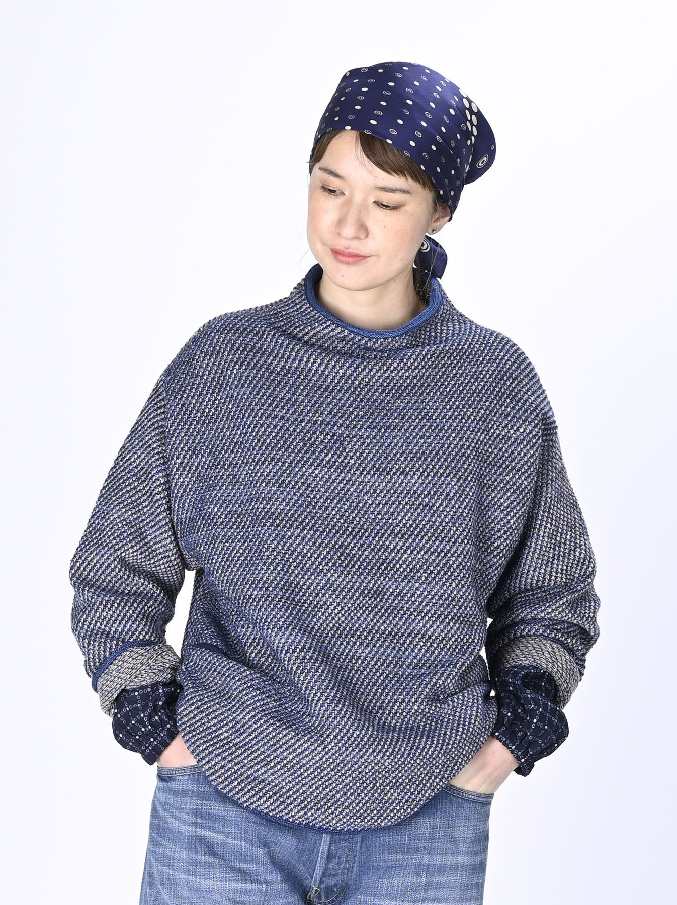 Indigo Knit Jacquard 908 Umahiko Sweater-3