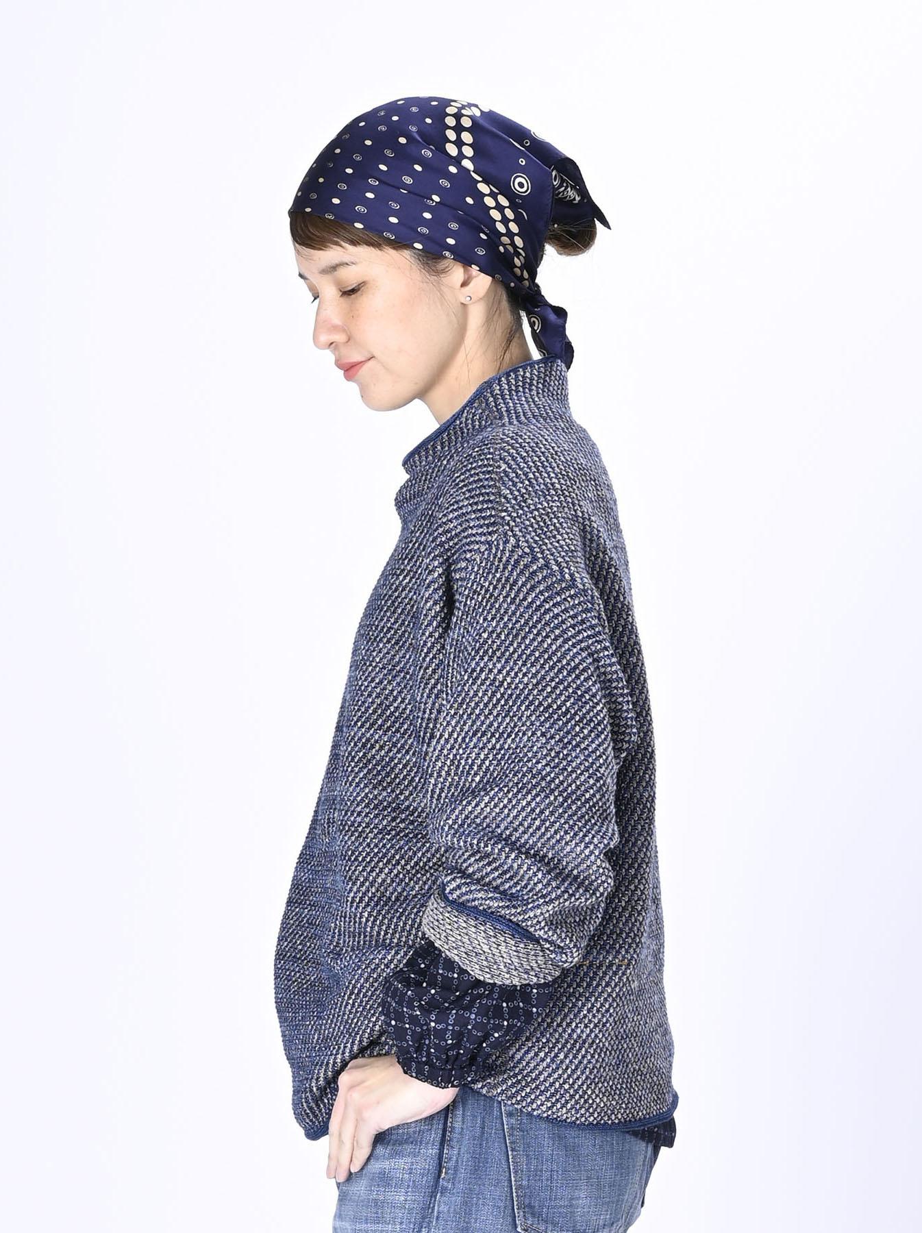 Indigo Knit Jacquard 908 Umahiko Sweater-4