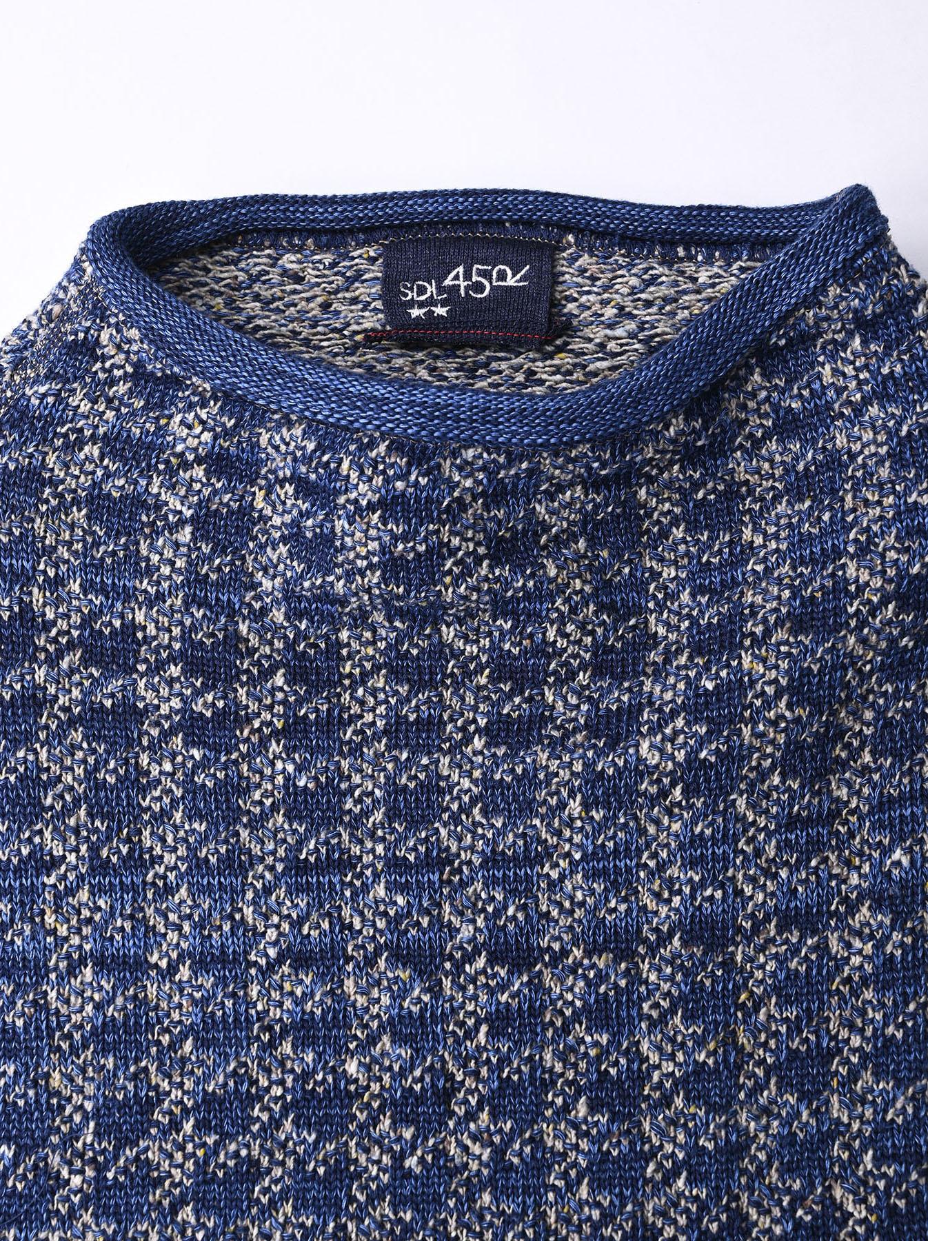 Indigo Knit Jacquard 908 Umahiko Sweater-10