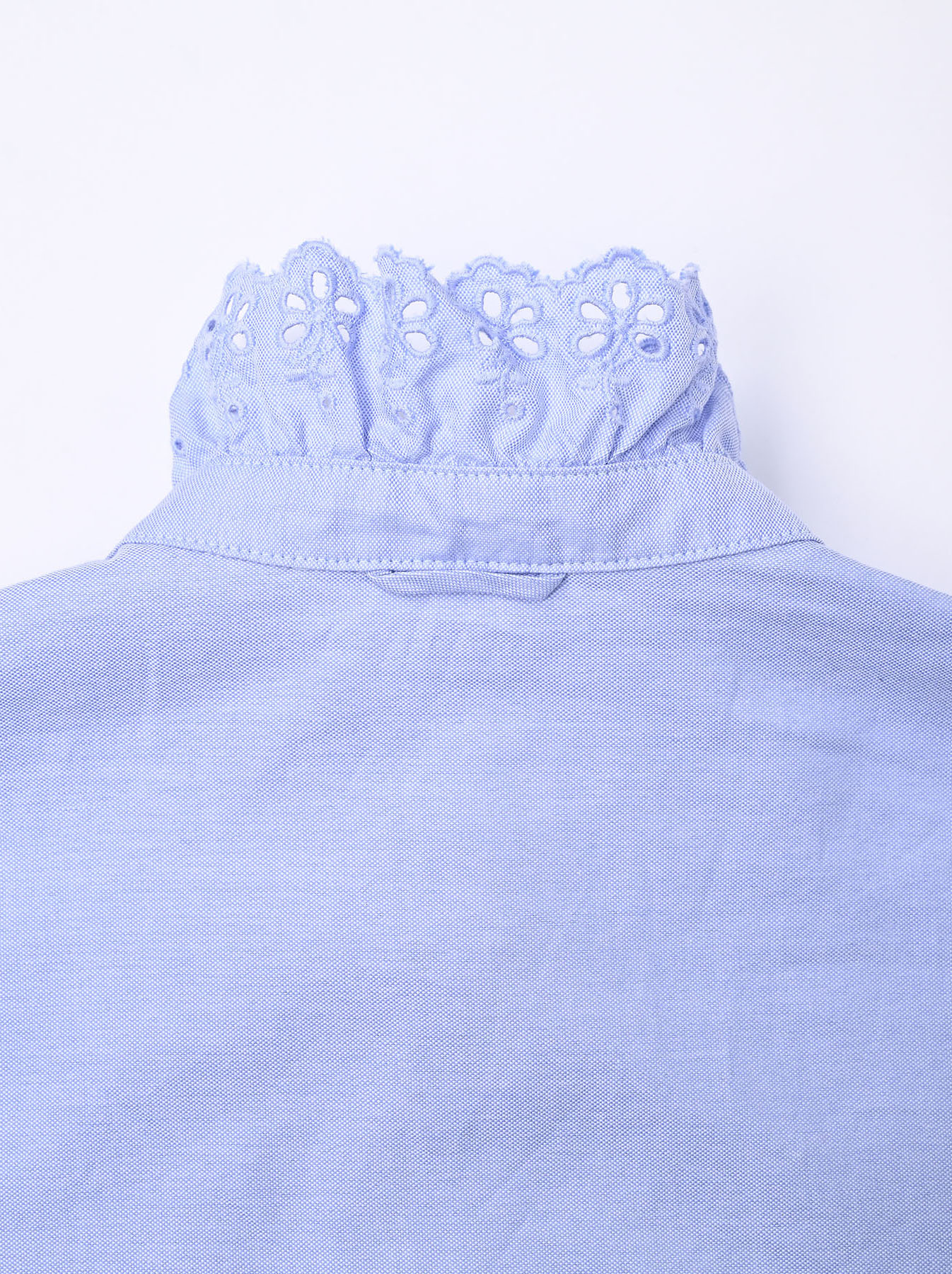 Blue Thin Oxford Frilled Blouse-8