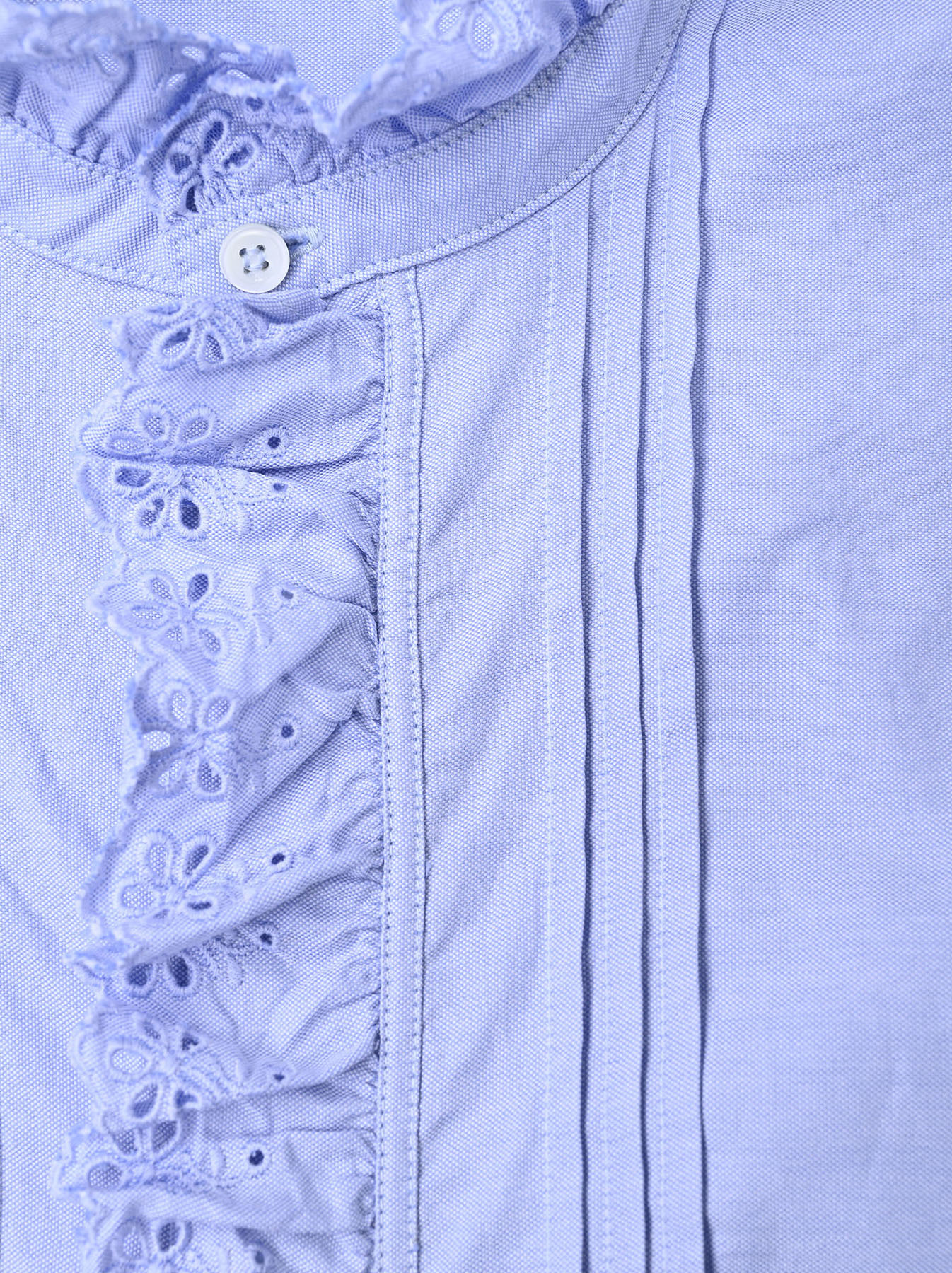 Blue Thin Oxford Frilled Blouse-9