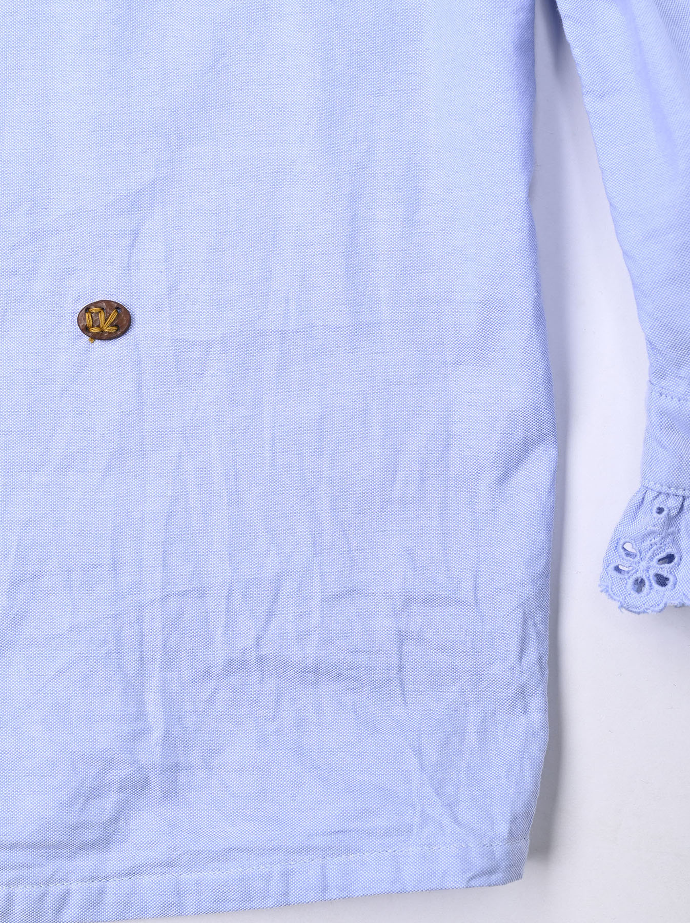 Blue Thin Oxford Frilled Blouse-12