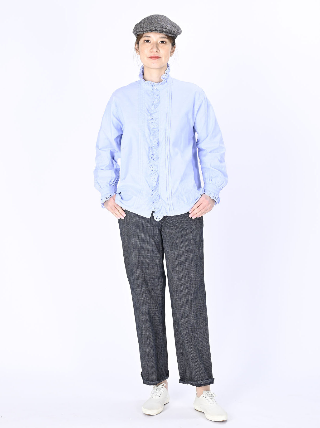 Blue Thin Oxford Frilled Blouse-2
