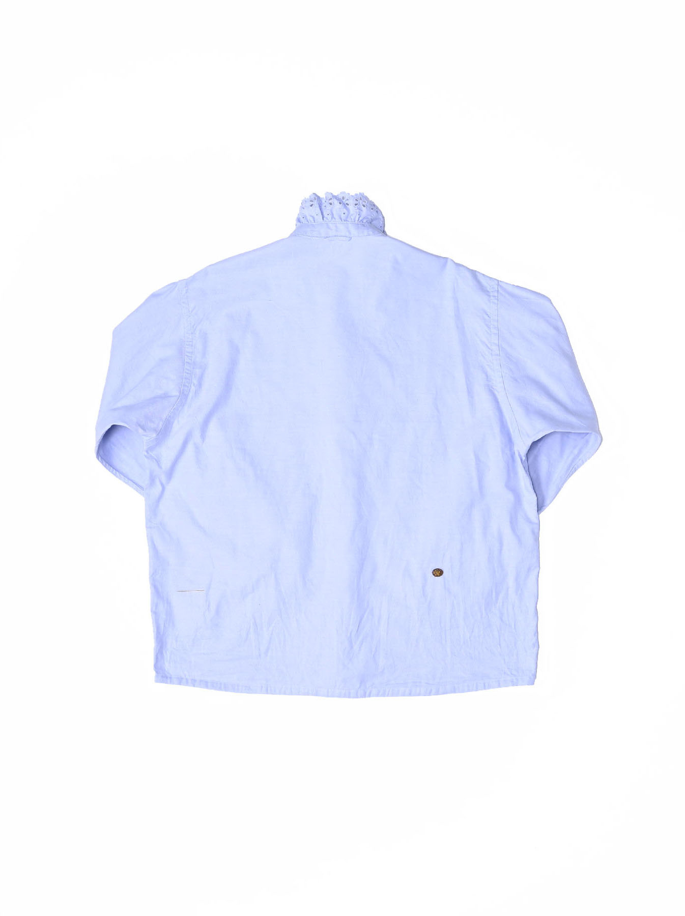 Blue Thin Oxford Frilled Blouse-6
